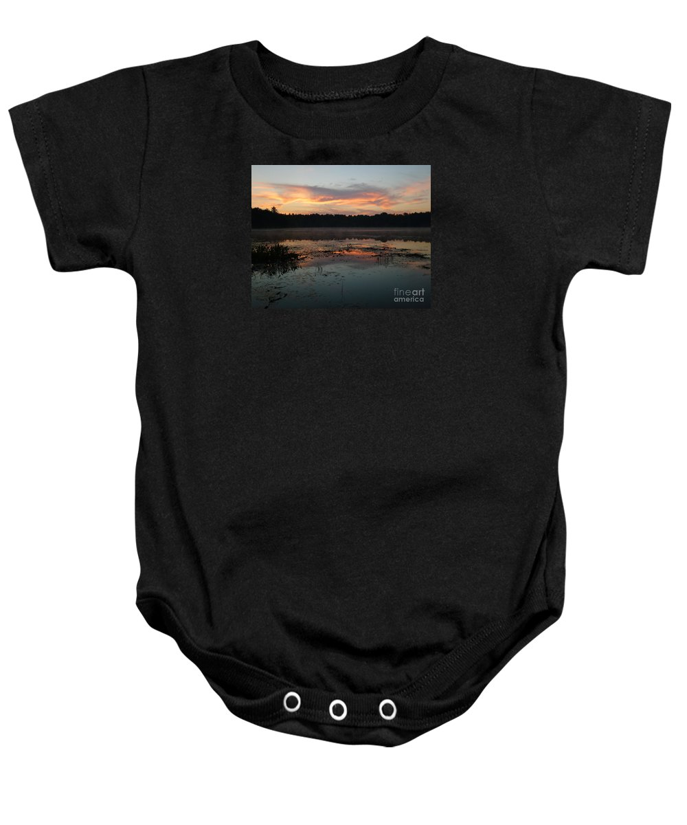 Sunrise Baby Onesie featuring the photograph Eagle River Sunrise No.5 by PJ Boylan