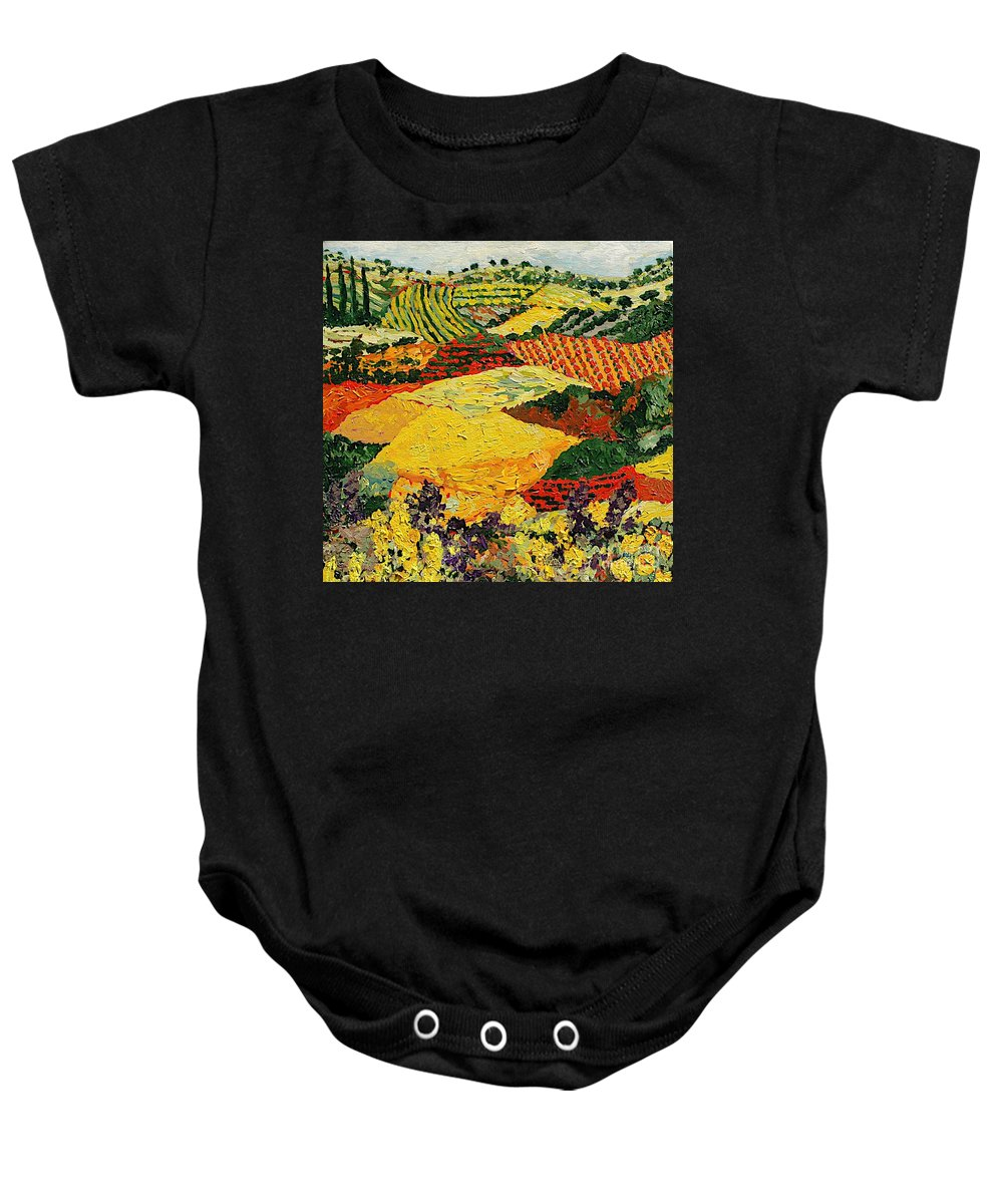 Landscape Baby Onesie featuring the painting Early Clouds by Allan P Friedlander