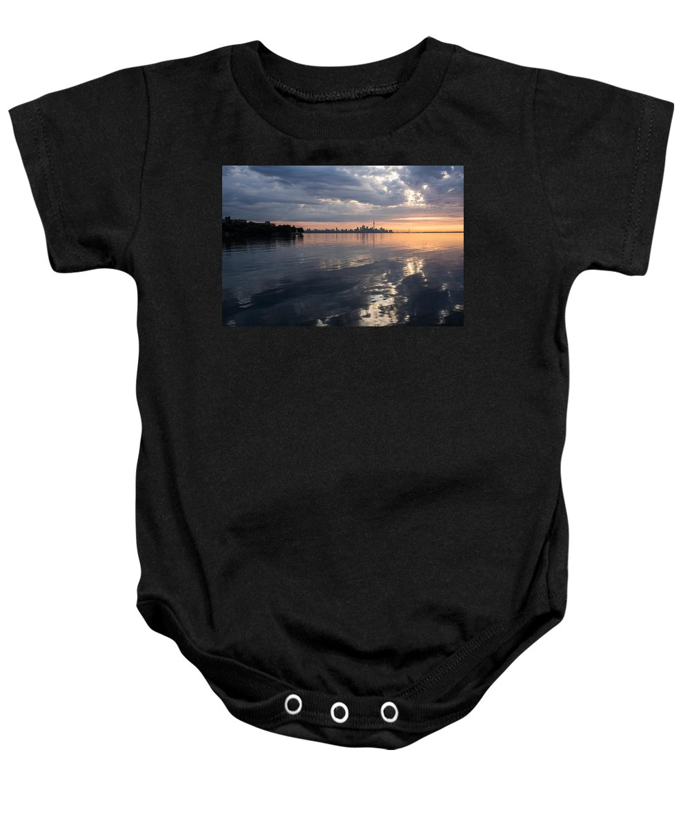 Toronto Baby Onesie featuring the photograph Early Morning Reflections - Lake Ontario And Downtown Toronto Skyline by Georgia Mizuleva