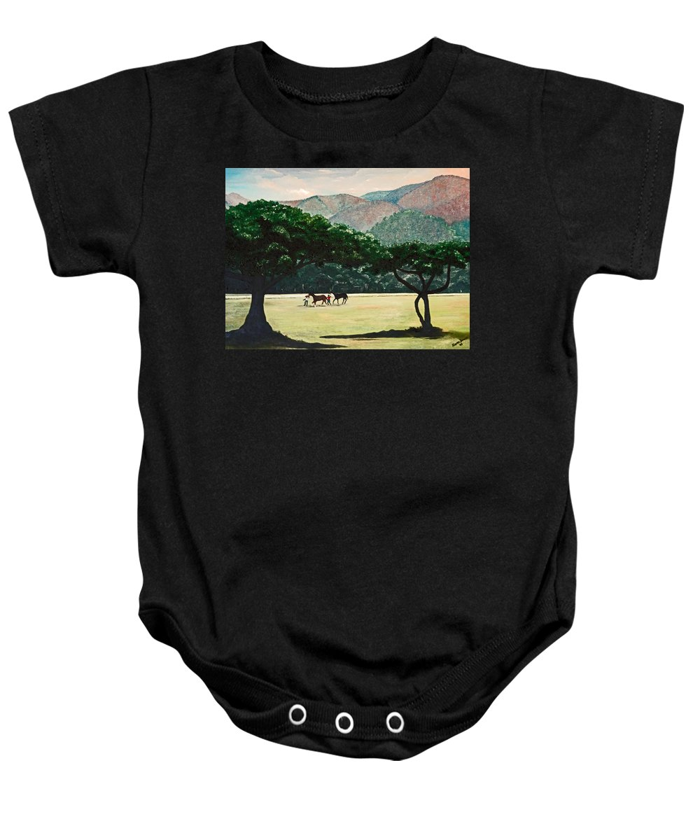 Trees Baby Onesie featuring the painting Early Morning Savannah by Karin Dawn Kelshall- Best