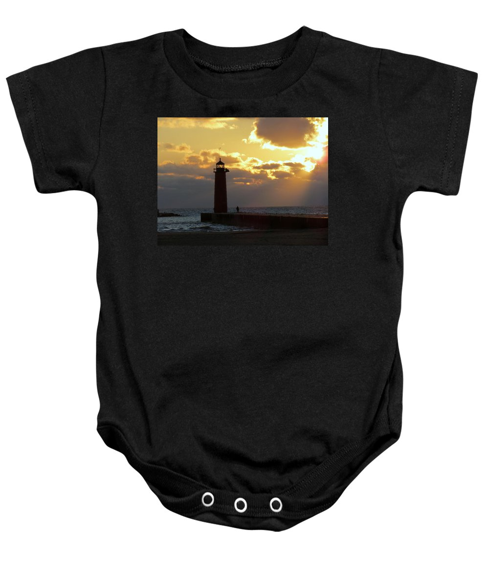 Pierhead Baby Onesie featuring the photograph Early Morning Stranger by Kay Novy