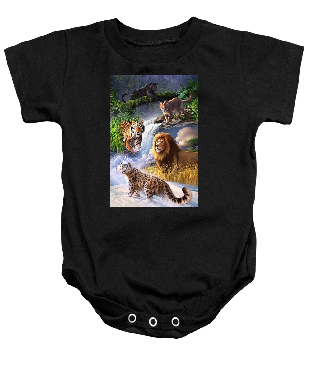 Big Cats Baby Onesie featuring the digital art Earth Day 2013 Poster by Jerry LoFaro