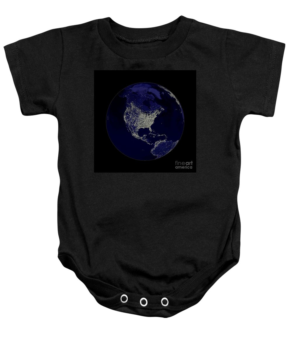 World Baby Onesie featuring the digital art Earth Globe Lights by Henrik Lehnerer