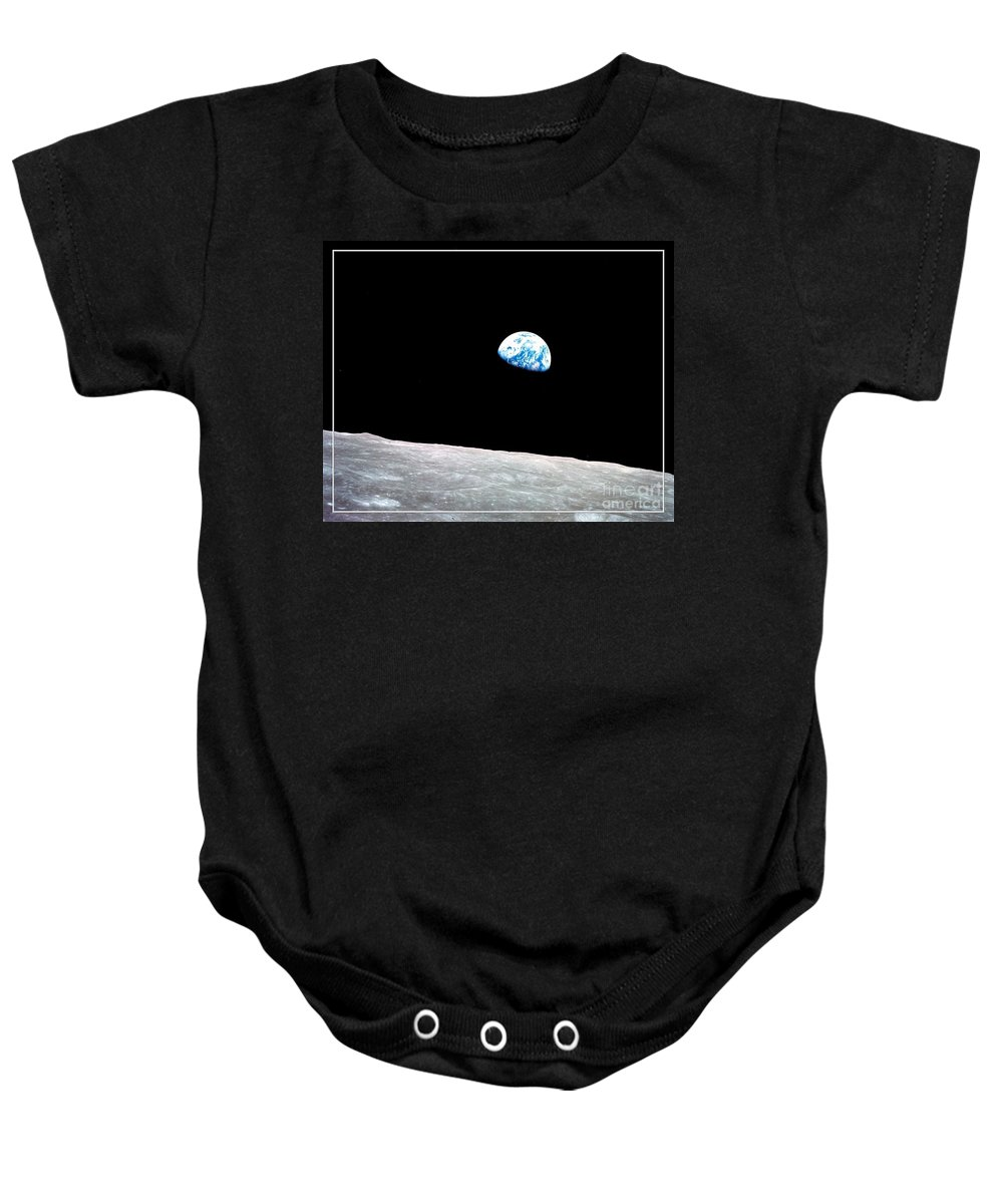 Earth Baby Onesie featuring the photograph Earthrise Nasa by Rose Santuci-Sofranko