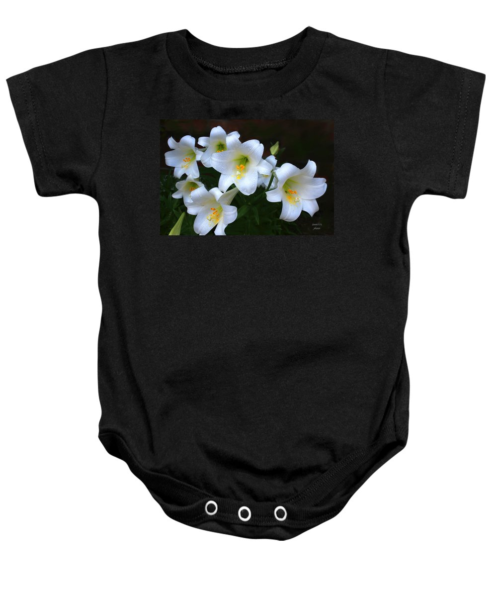 Easter Lilly Baby Onesie featuring the photograph Easter Lilies by Bonnie Willis