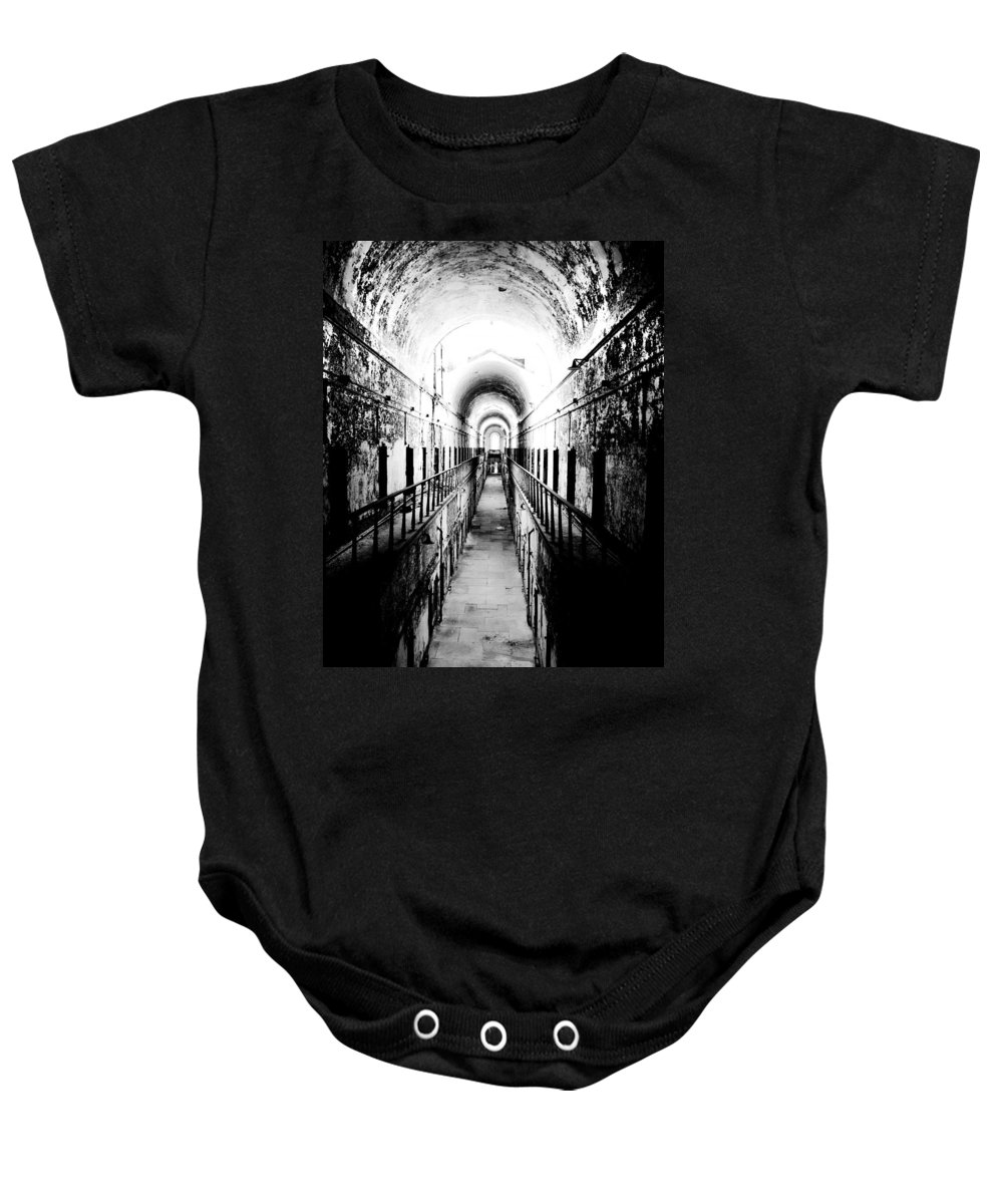 Philadelphia Baby Onesie featuring the photograph Eastern State Pen Hall by Alex Snay
