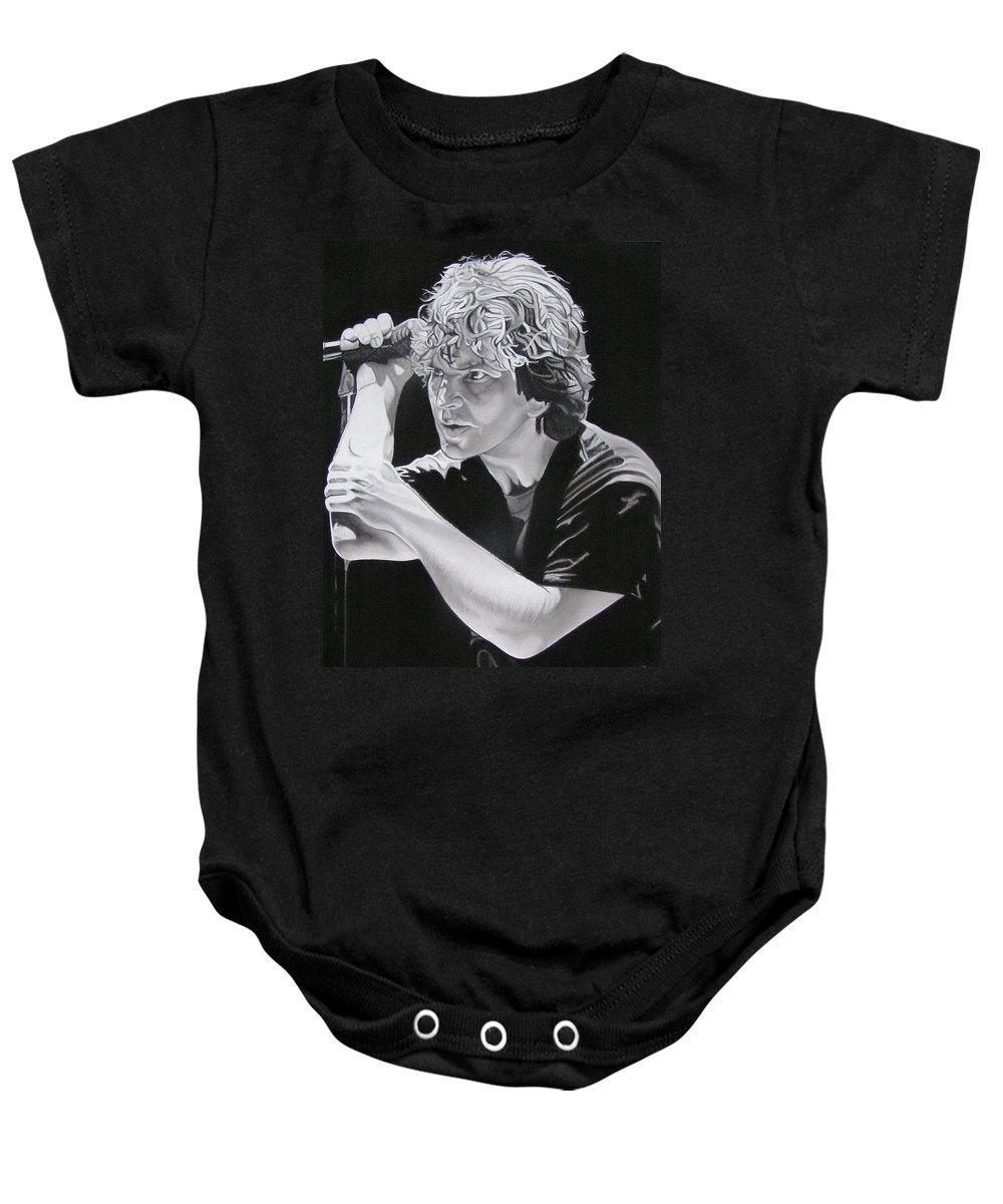 Eddie Vedder Baby Onesie featuring the drawing Eddie Vedder by Joshua Morton