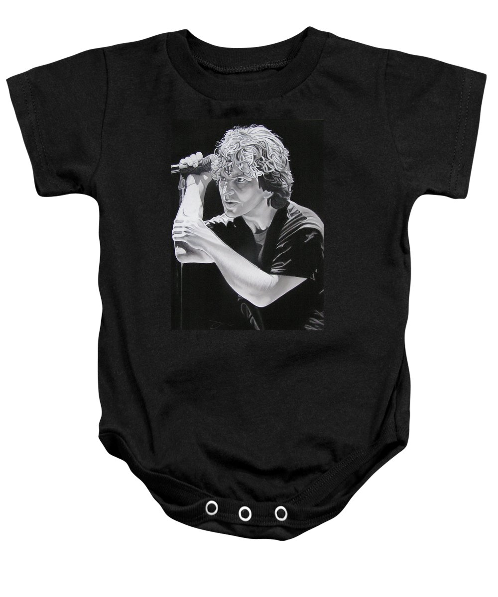Eddie Vedder Baby Onesie featuring the drawing Eddie Vedder Black And White by Joshua Morton