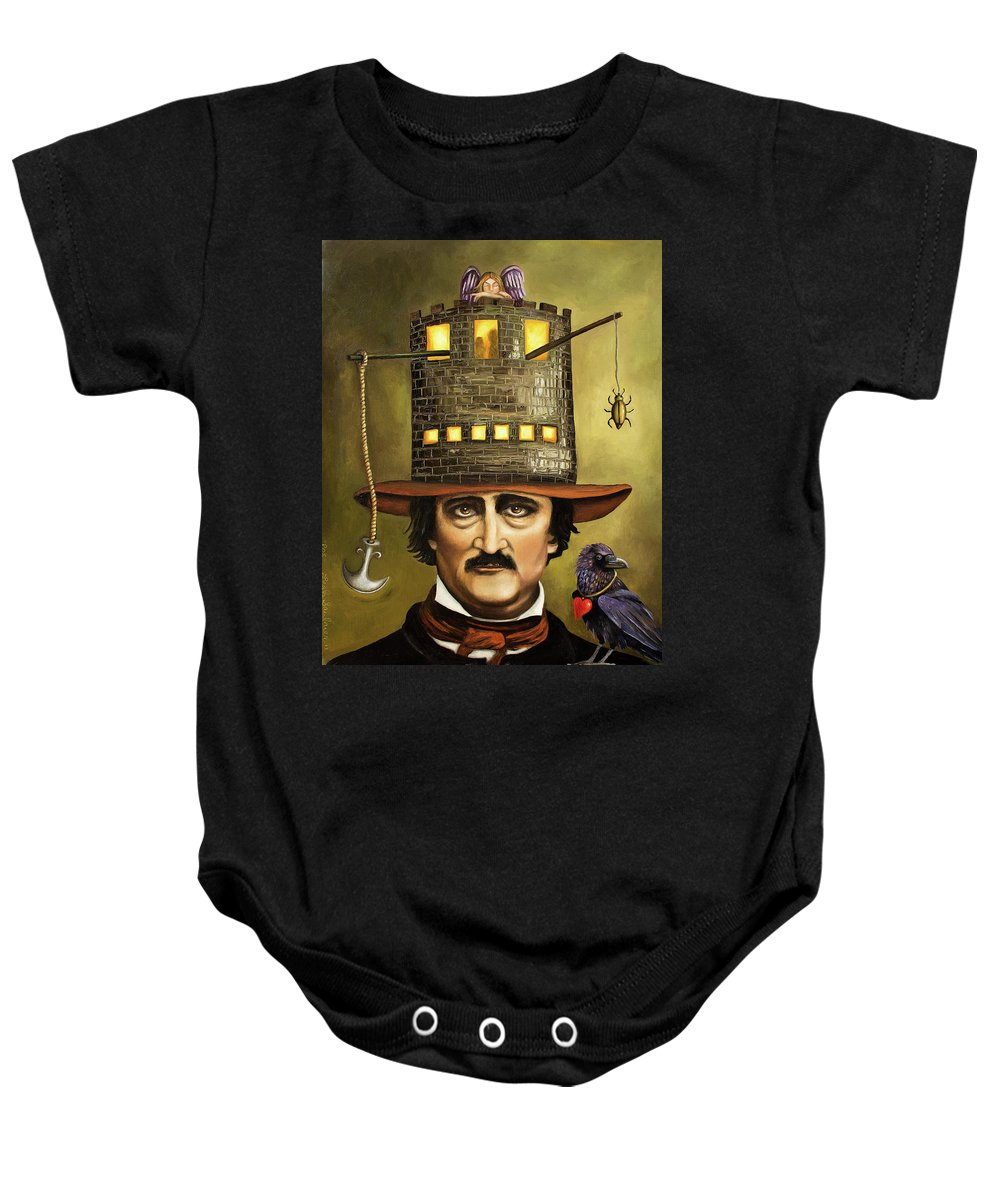 Poe Baby Onesie featuring the painting Edgar Allan Poe by Leah Saulnier The Painting Maniac