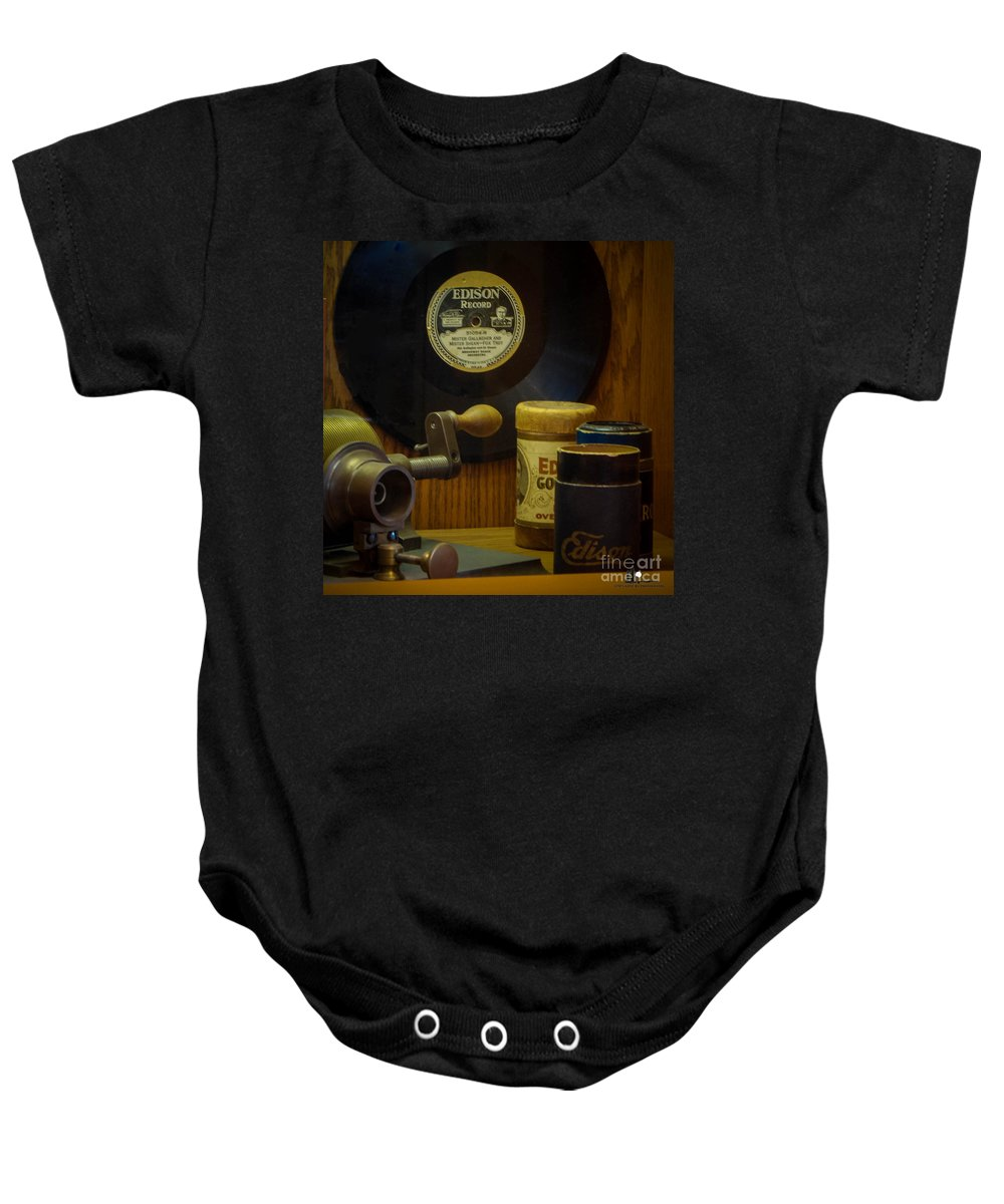 Thomas Edison Depot Museum Baby Onesie featuring the photograph Edison Record And Equipment by Grace Grogan