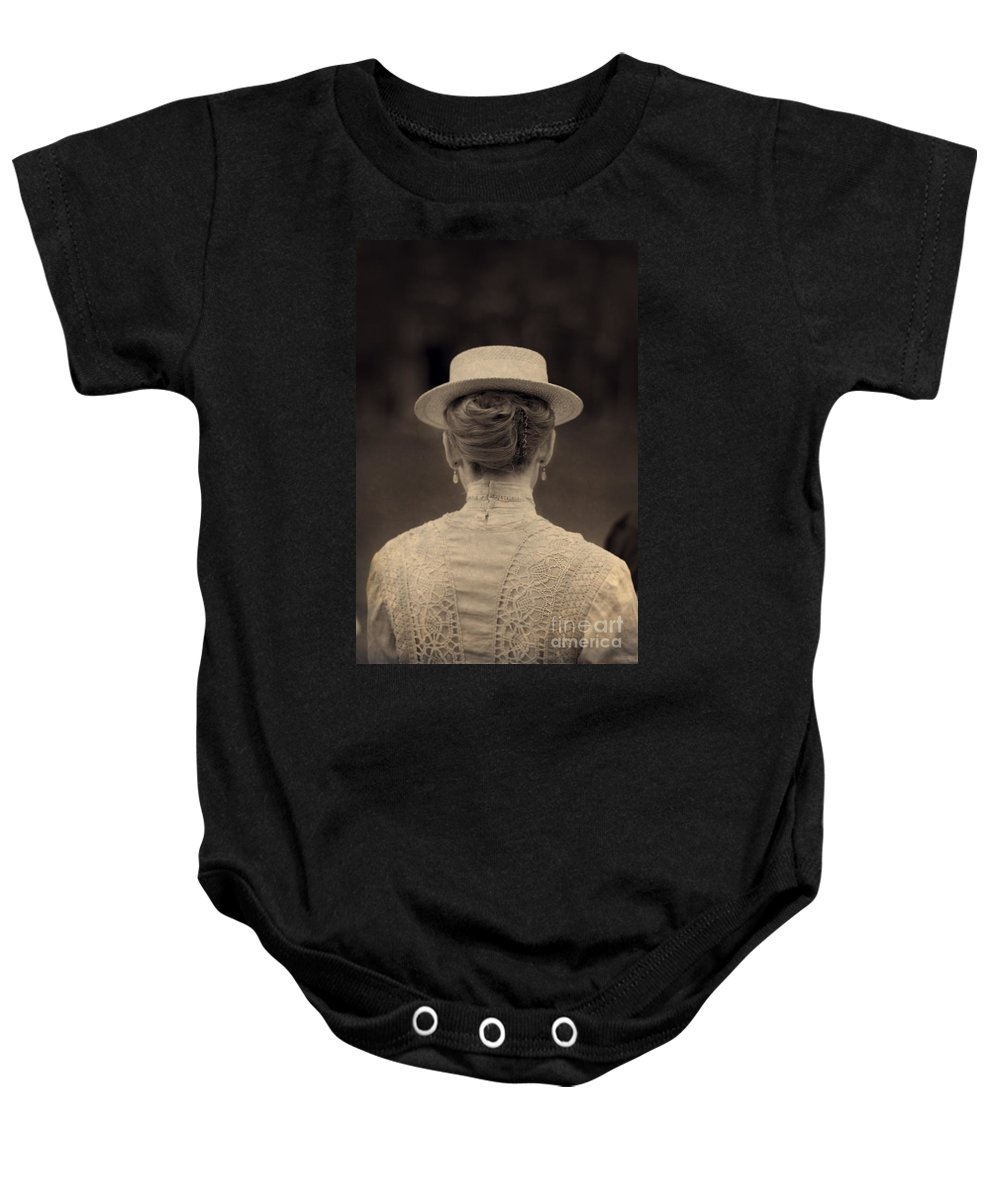 Edwardian Baby Onesie featuring the photograph Edwardian Woman With Straw Boater Rear View by Lee Avison