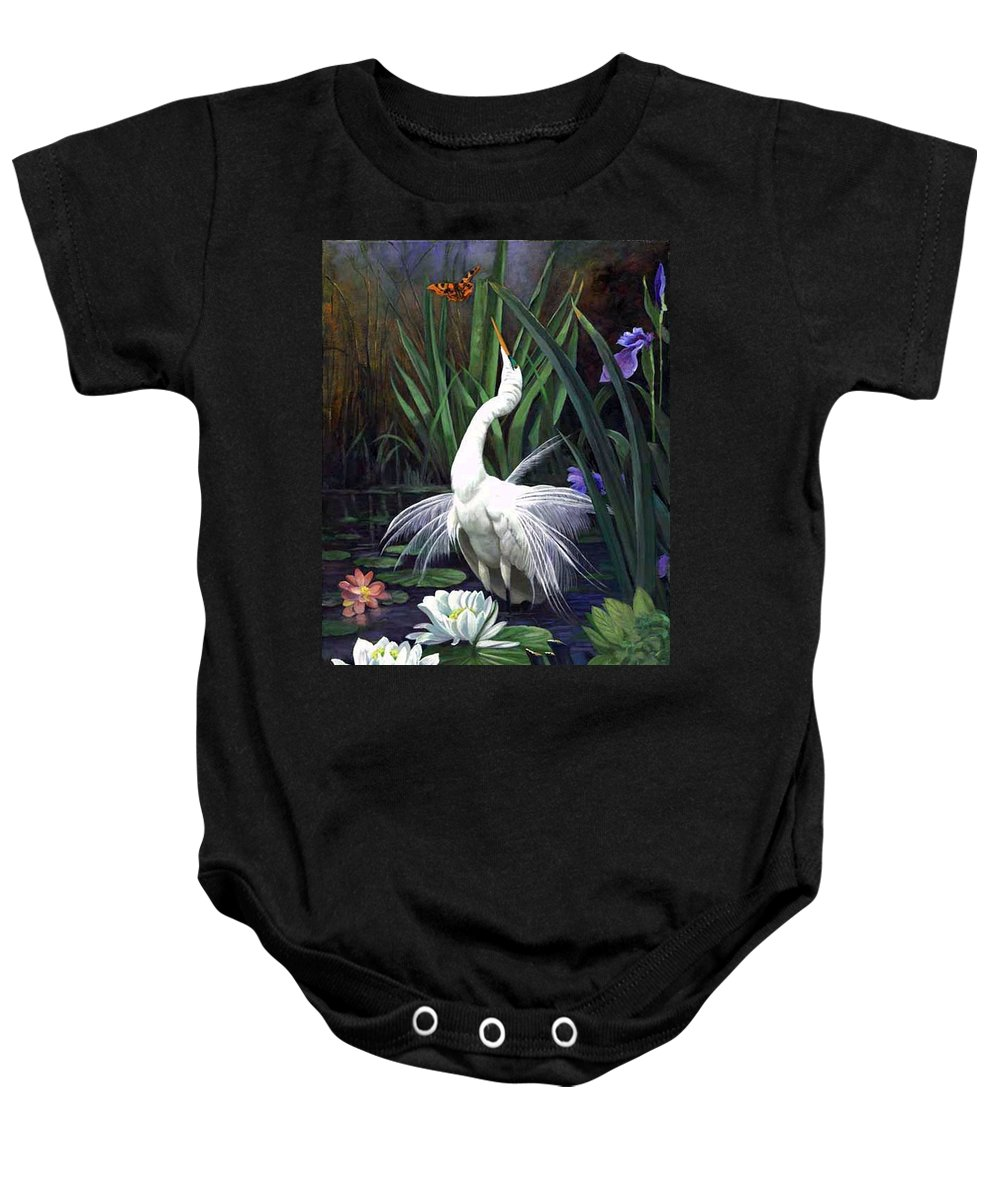 Landscape Baby Onesie featuring the painting Egret And The Butterfly by Edward Skallberg