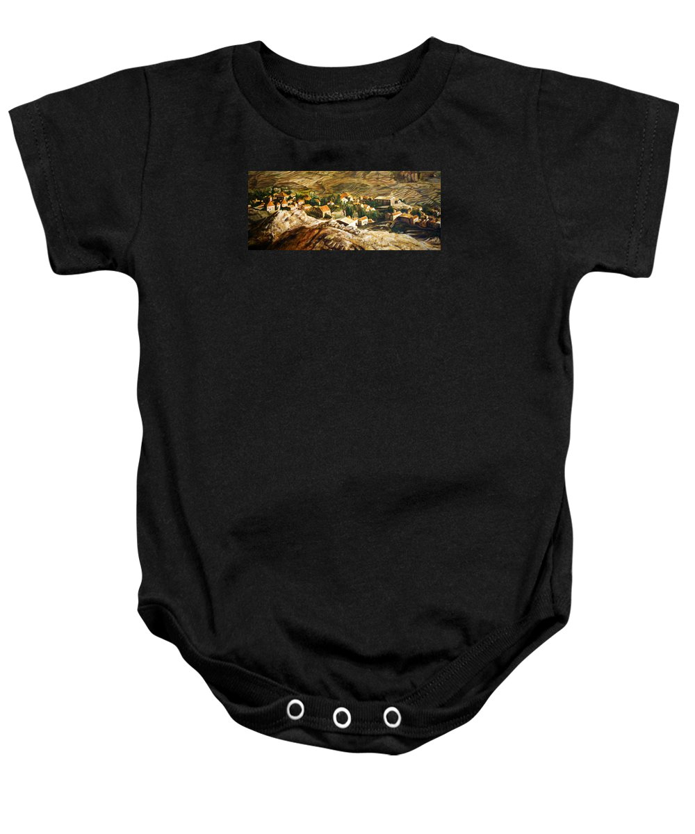 Ehden Baby Onesie featuring the painting Ehden Lebanon by Lyndsey Hatchwell