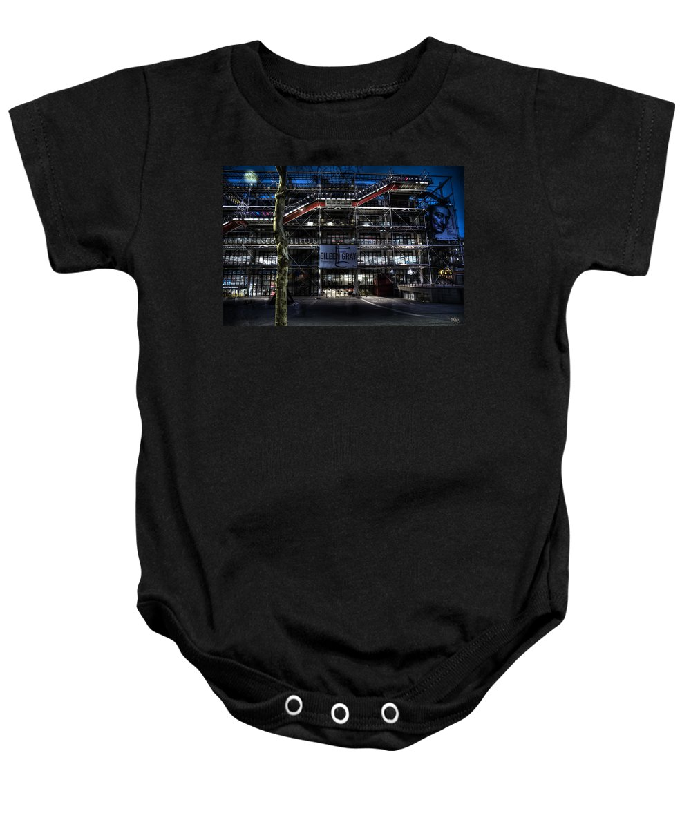 Arch Baby Onesie featuring the photograph Eileen Gray At The Pompidou by Evie Carrier