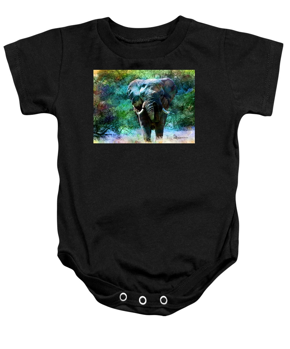 Elephant Baby Onesie featuring the photograph Elephant - Featured In Comfortable Art- Wildlife- And Nature Wildlife Groups by Ericamaxine Price
