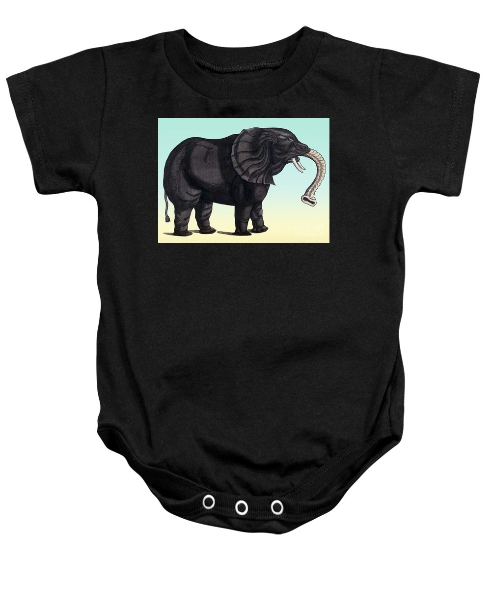 Science Baby Onesie featuring the photograph Elephant From The Historiae Animalium 16th Century by NLM Science Source