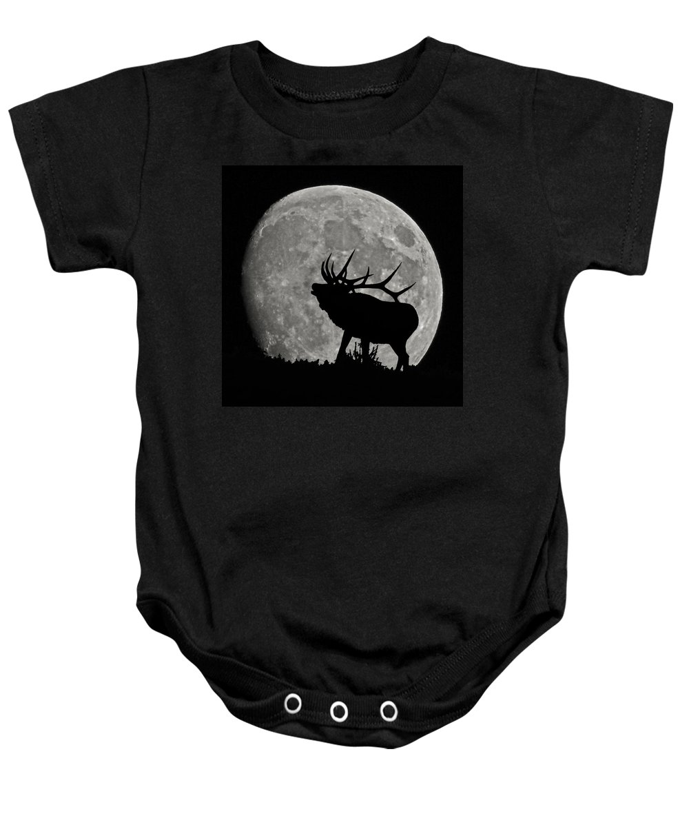 Silhouette Baby Onesie featuring the photograph Elk Silhouette On Moon by Ernie Echols