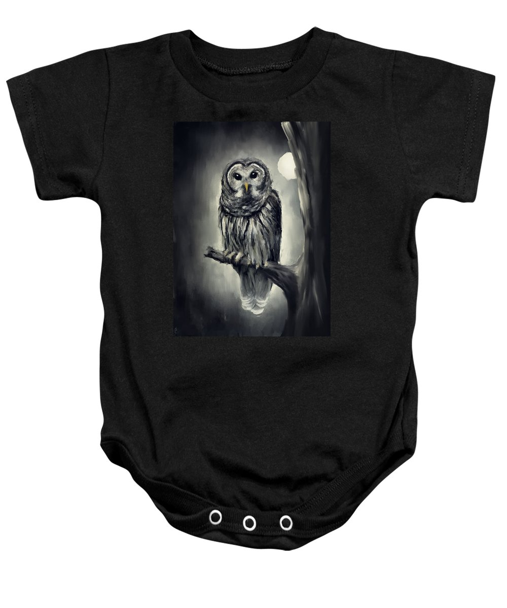 Owl Baby Onesie featuring the photograph Elusive Owl by Lourry Legarde