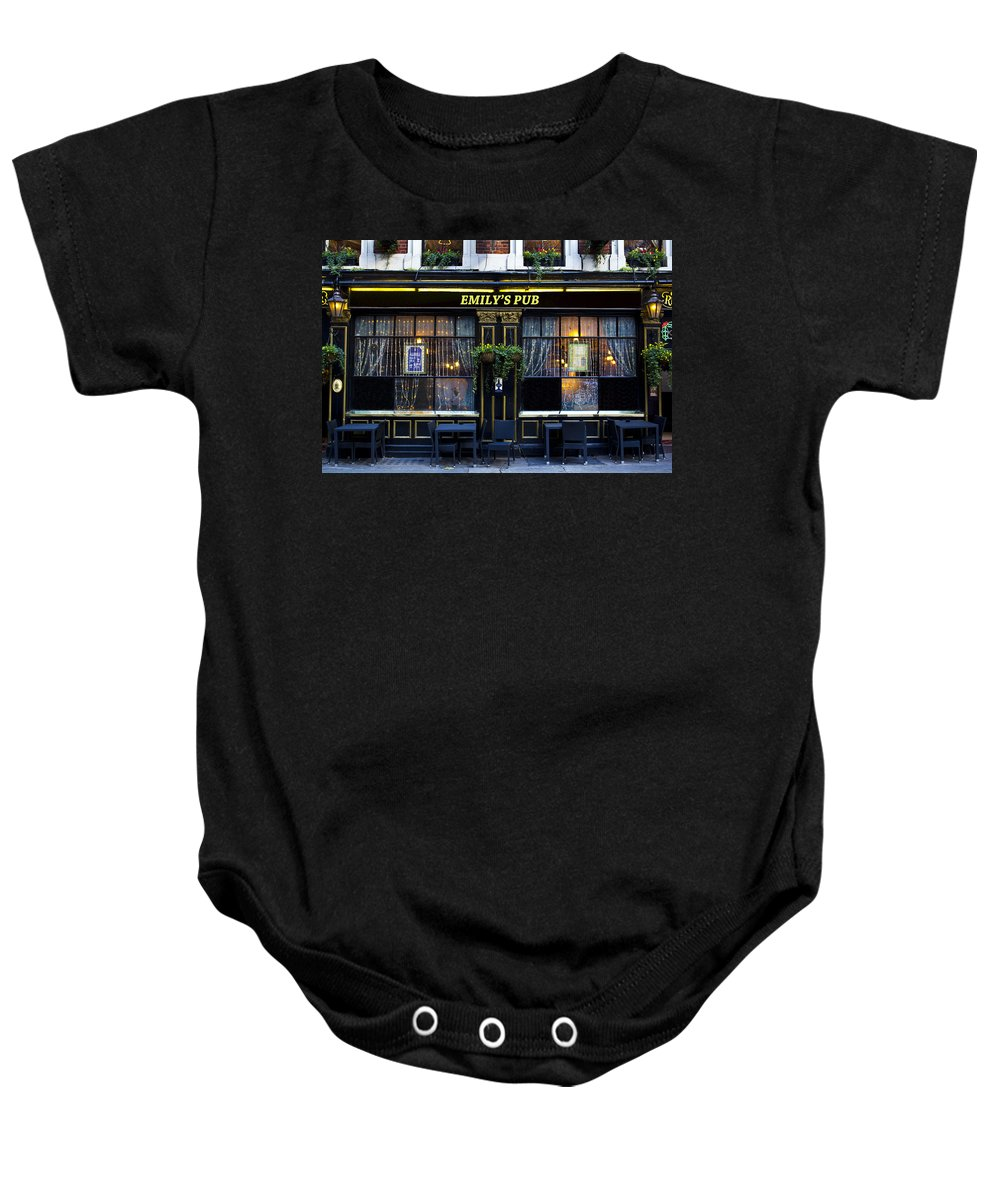 Emily Baby Onesie featuring the photograph Emily's Pub by David Pyatt