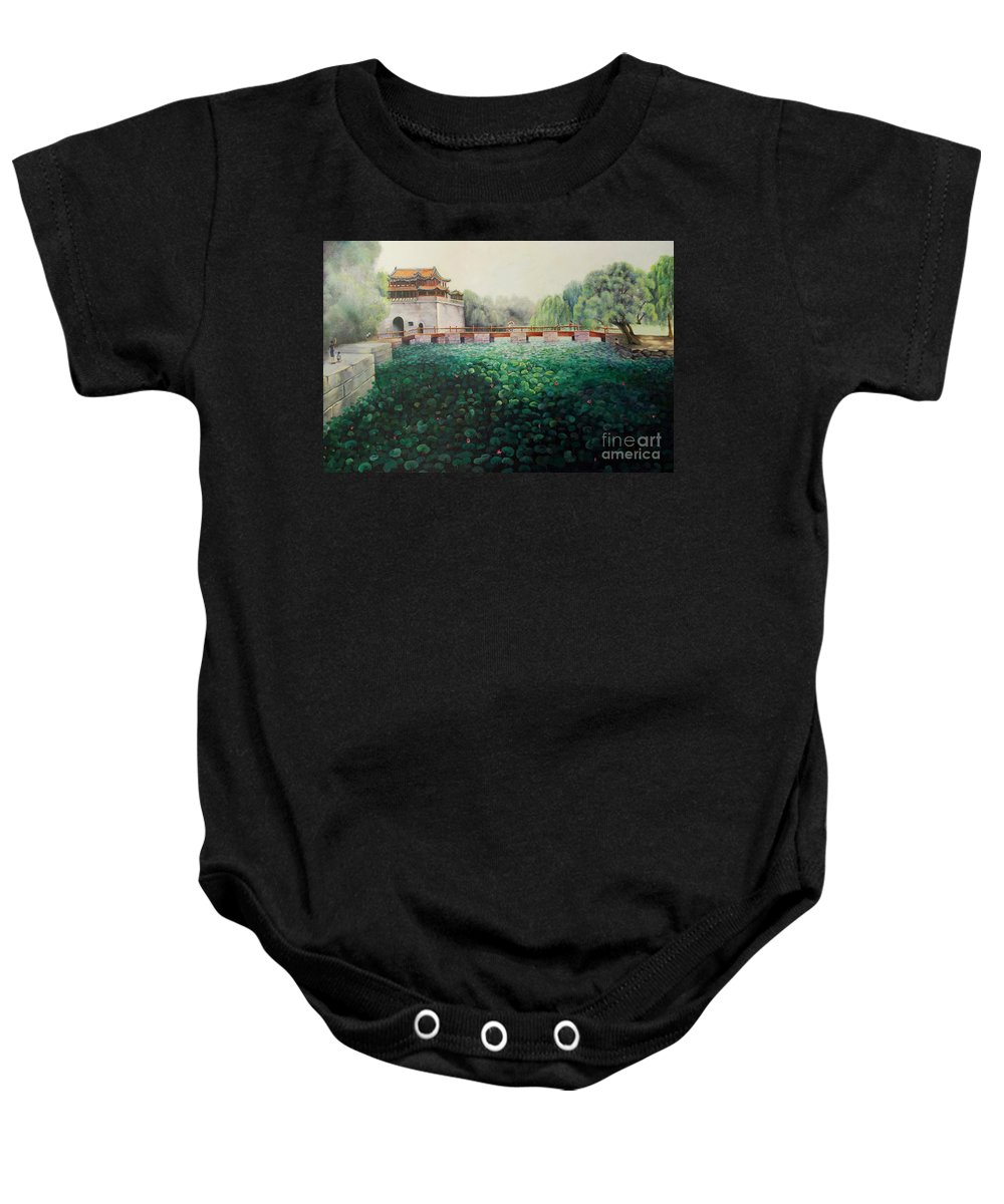 Landscape Baby Onesie featuring the painting Emperor's Summer Palace by Marlene Book