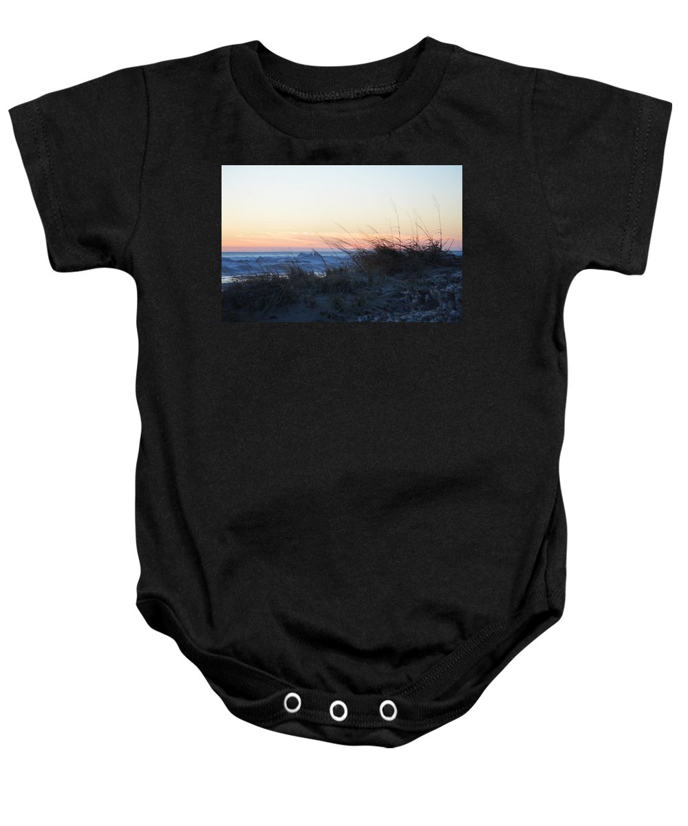 Lake Michigan Baby Onesie featuring the photograph End Of Day by Linda Kerkau