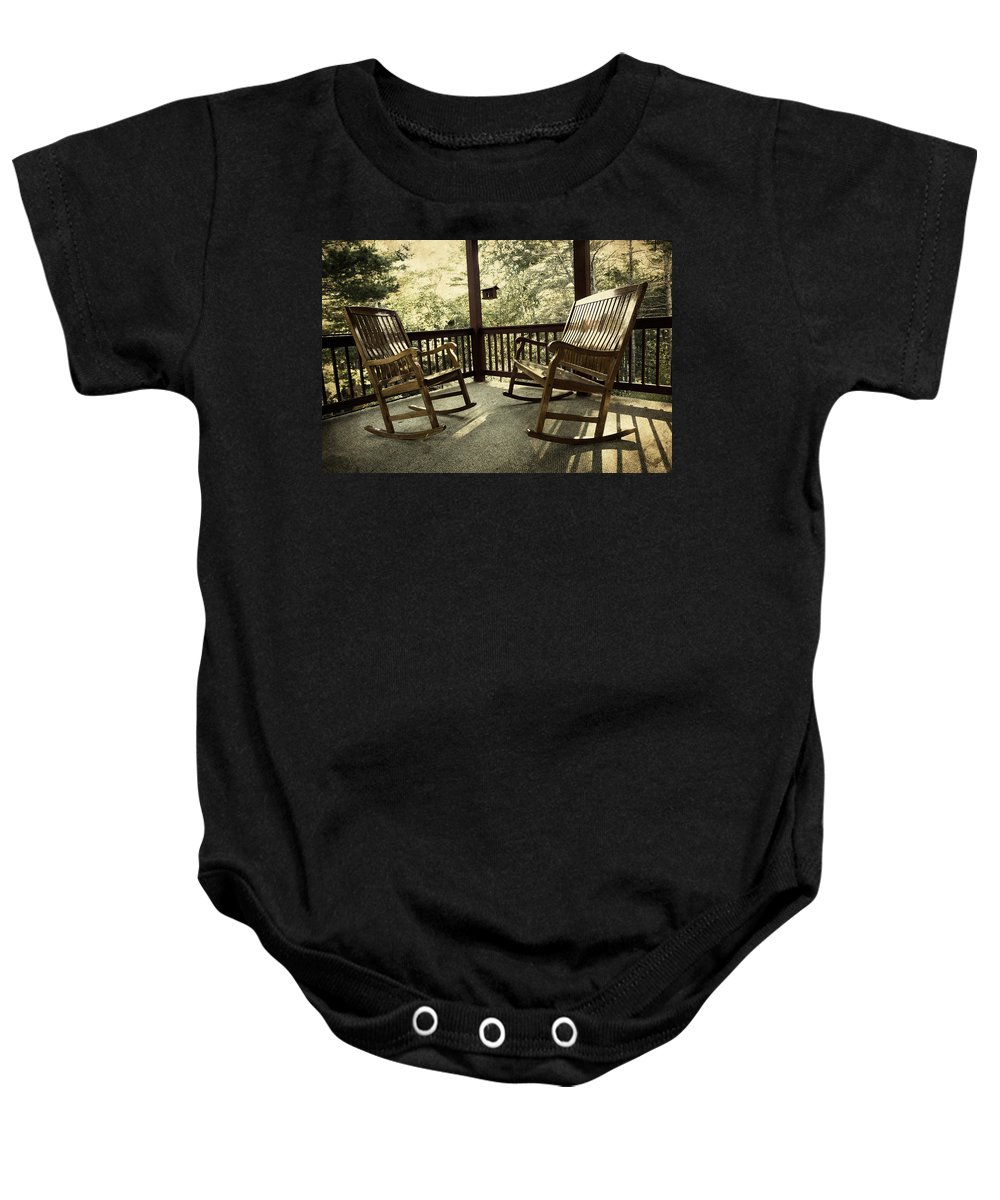 Porch Baby Onesie featuring the photograph End Of Summer by Evie Carrier