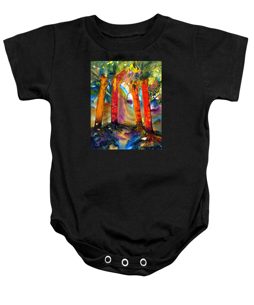 Ksg Baby Onesie featuring the painting Enduring by Kim Shuckhart Gunns