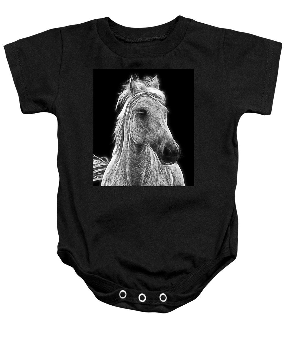 Horse Baby Onesie featuring the photograph Energetic White Horse by Joachim G Pinkawa