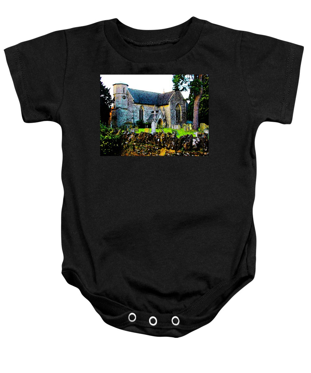 Expressive Baby Onesie featuring the photograph English Churchyard by Lenore Senior