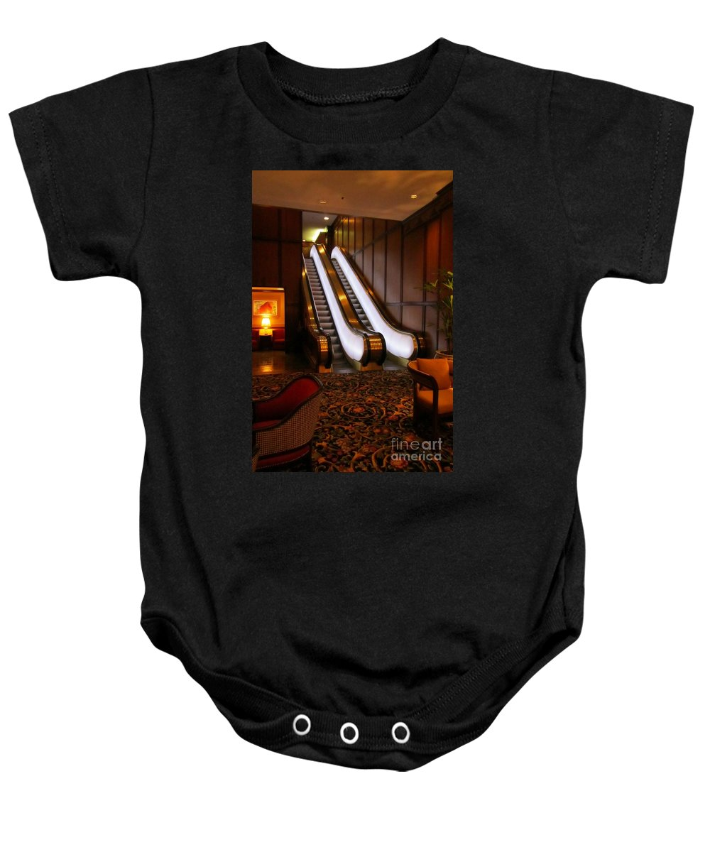 Escalator Art Baby Onesie featuring the photograph Escalator In The Brown Palace by John Malone
