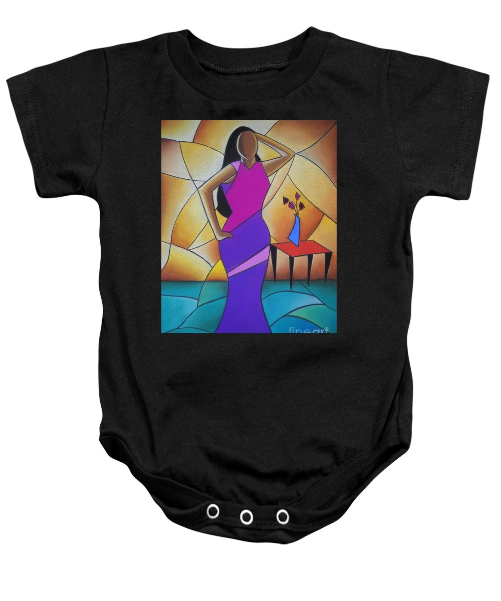 African American Art Baby Onesie featuring the drawing Essence Of A Woman II by Sonya Walker