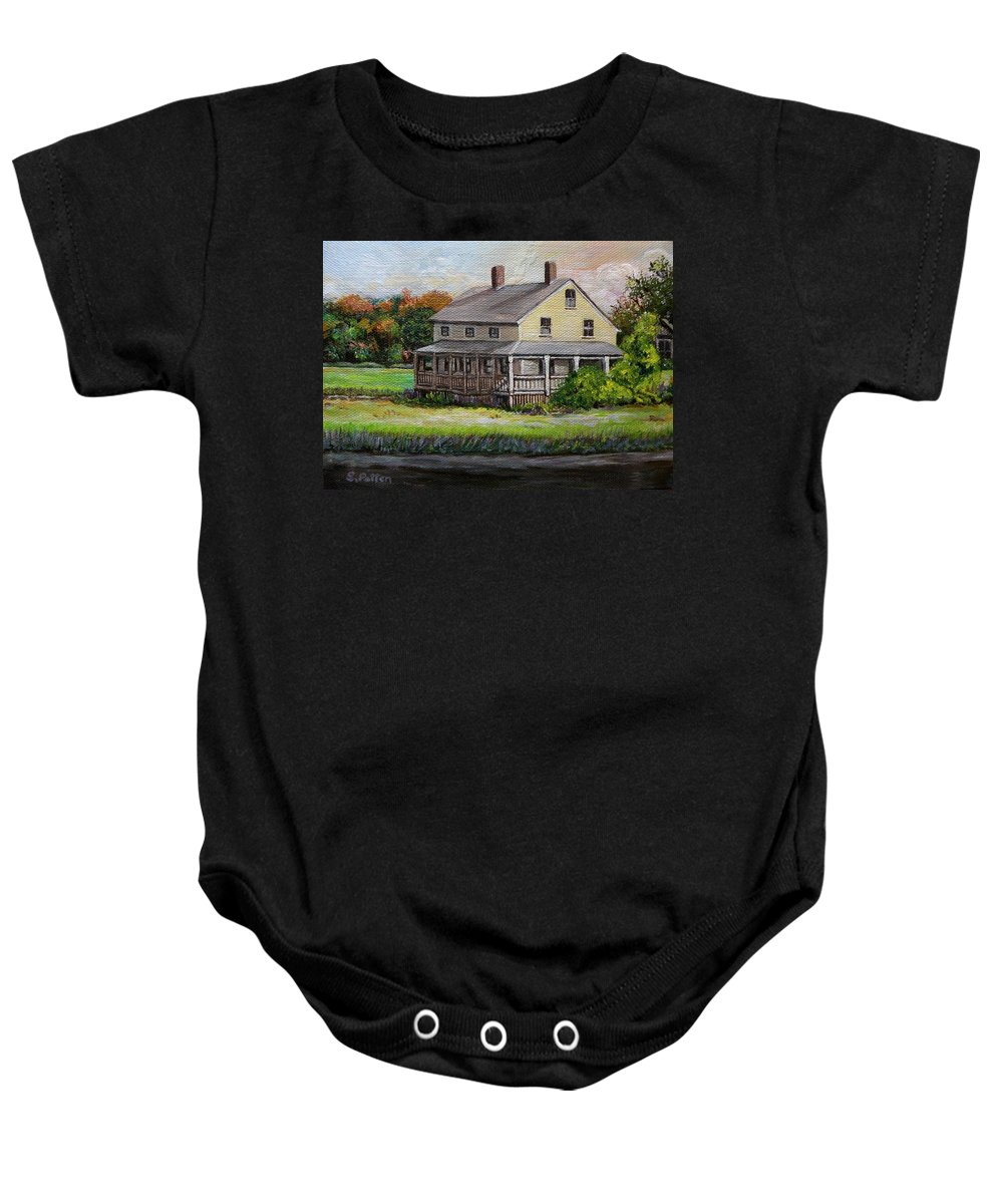 New England Baby Onesie featuring the painting Essex Marsh House by Eileen Patten Oliver