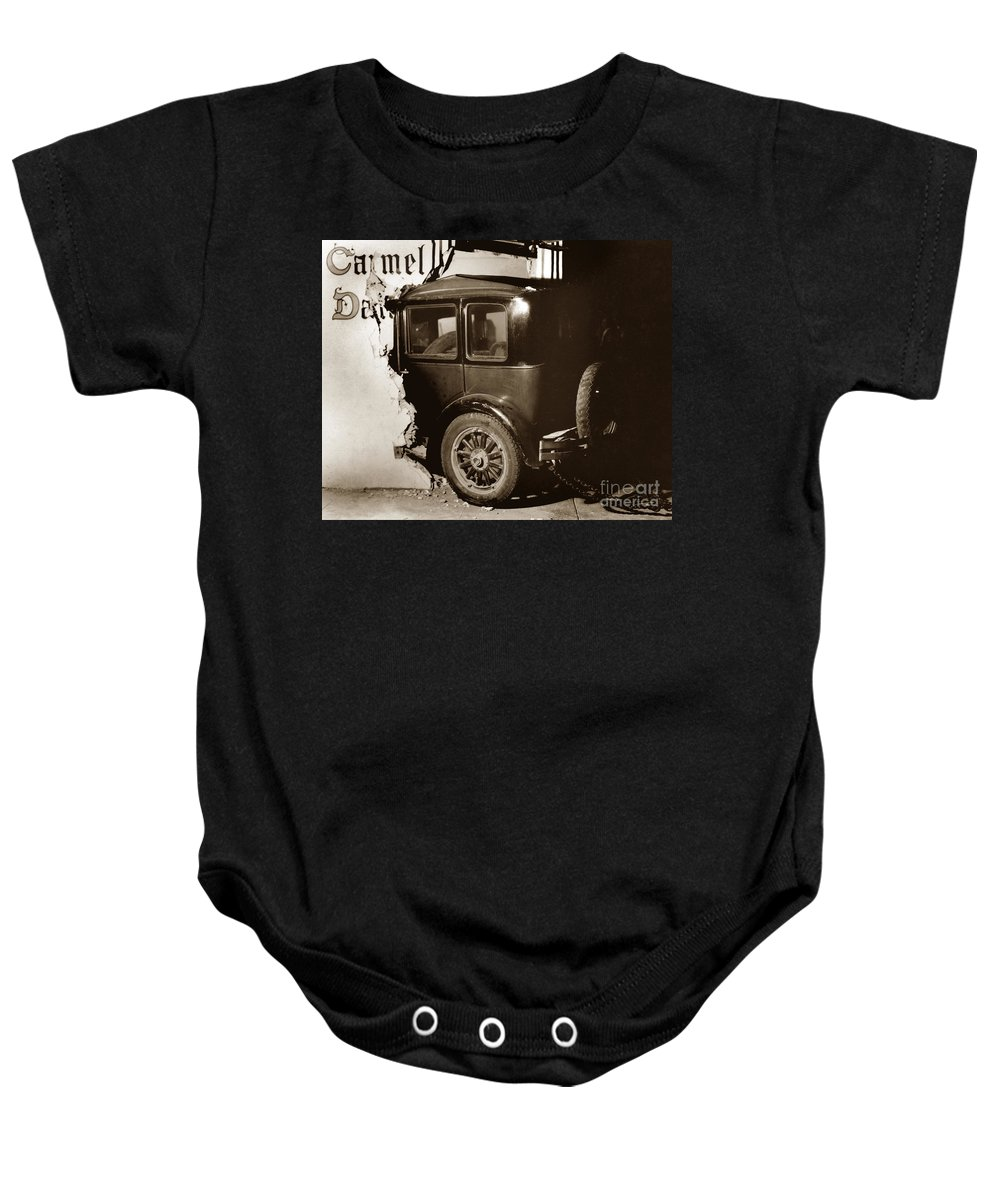 Essex Super Sixin Baby Onesie featuring the photograph Essex Super Six In Carmel Dairy 1933 by California Views Archives Mr Pat Hathaway Archives