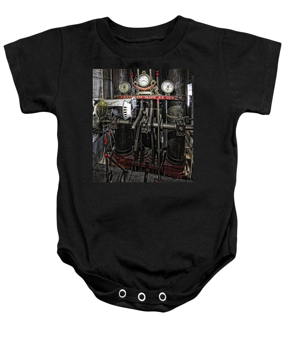 san Francisco Baby Onesie featuring the photograph Eureka Ferry Steam Engine Controls - San Francisco by Daniel Hagerman