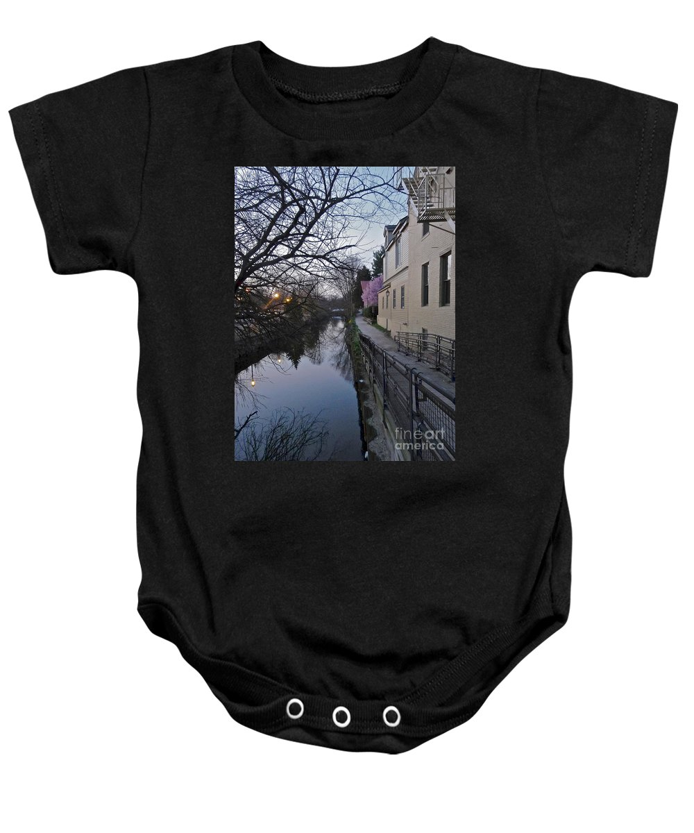 Bridge Street Baby Onesie featuring the photograph Evening On The Canal Path by Christopher Plummer