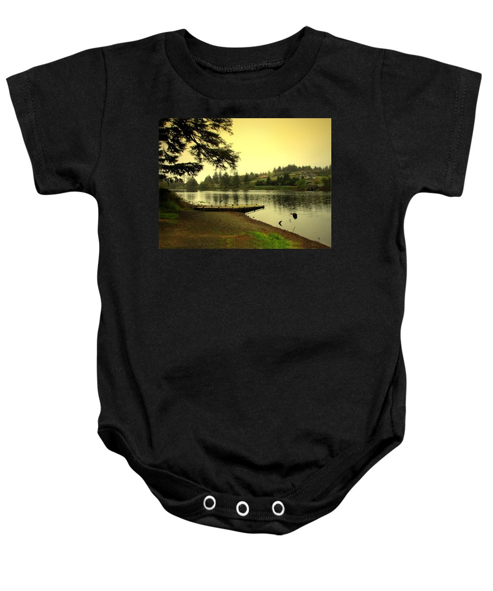 Lake Baby Onesie featuring the photograph Evening On The Lake by Joyce Dickens