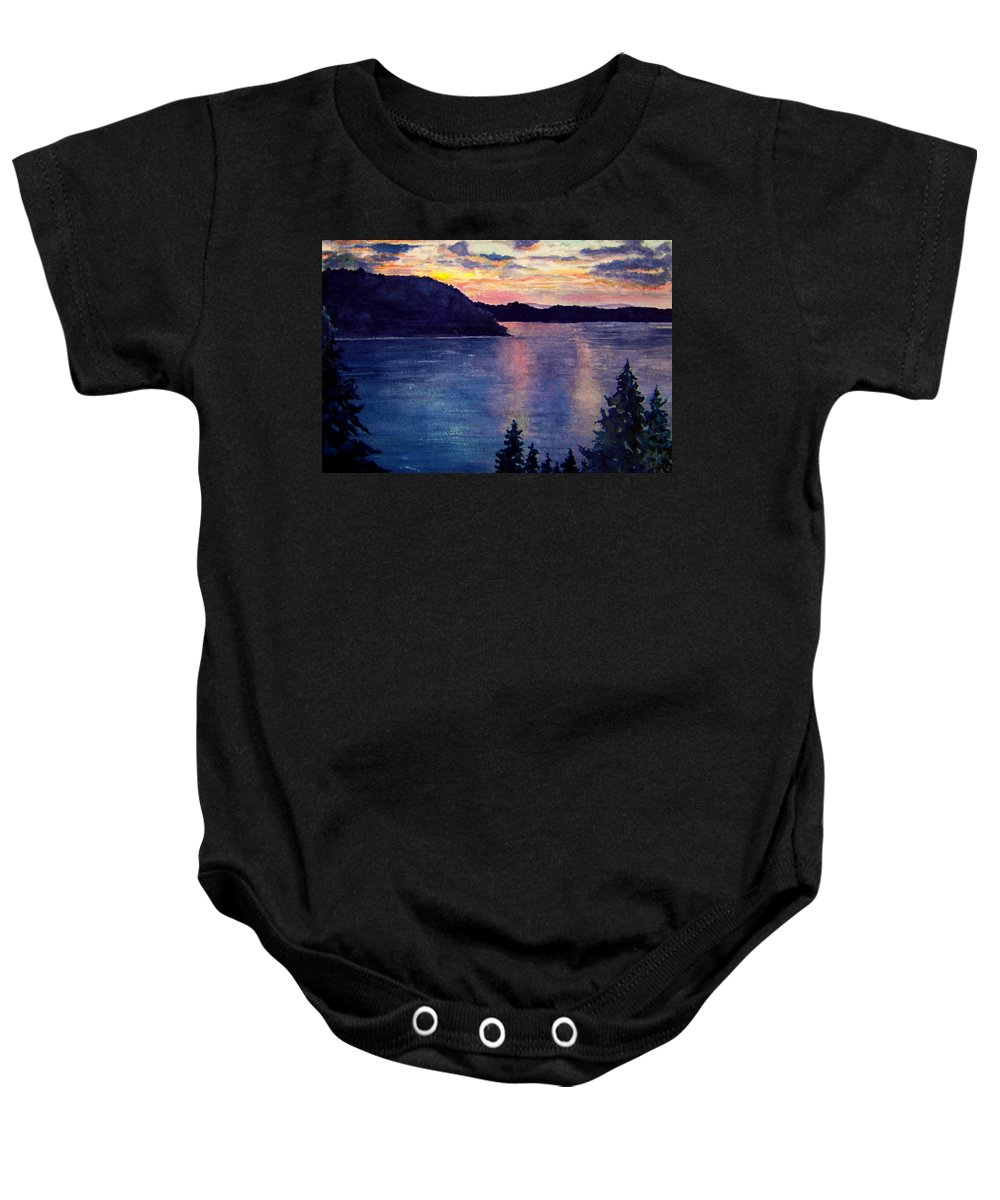 Sunset Baby Onesie featuring the painting Evening Song by Brenda Owen