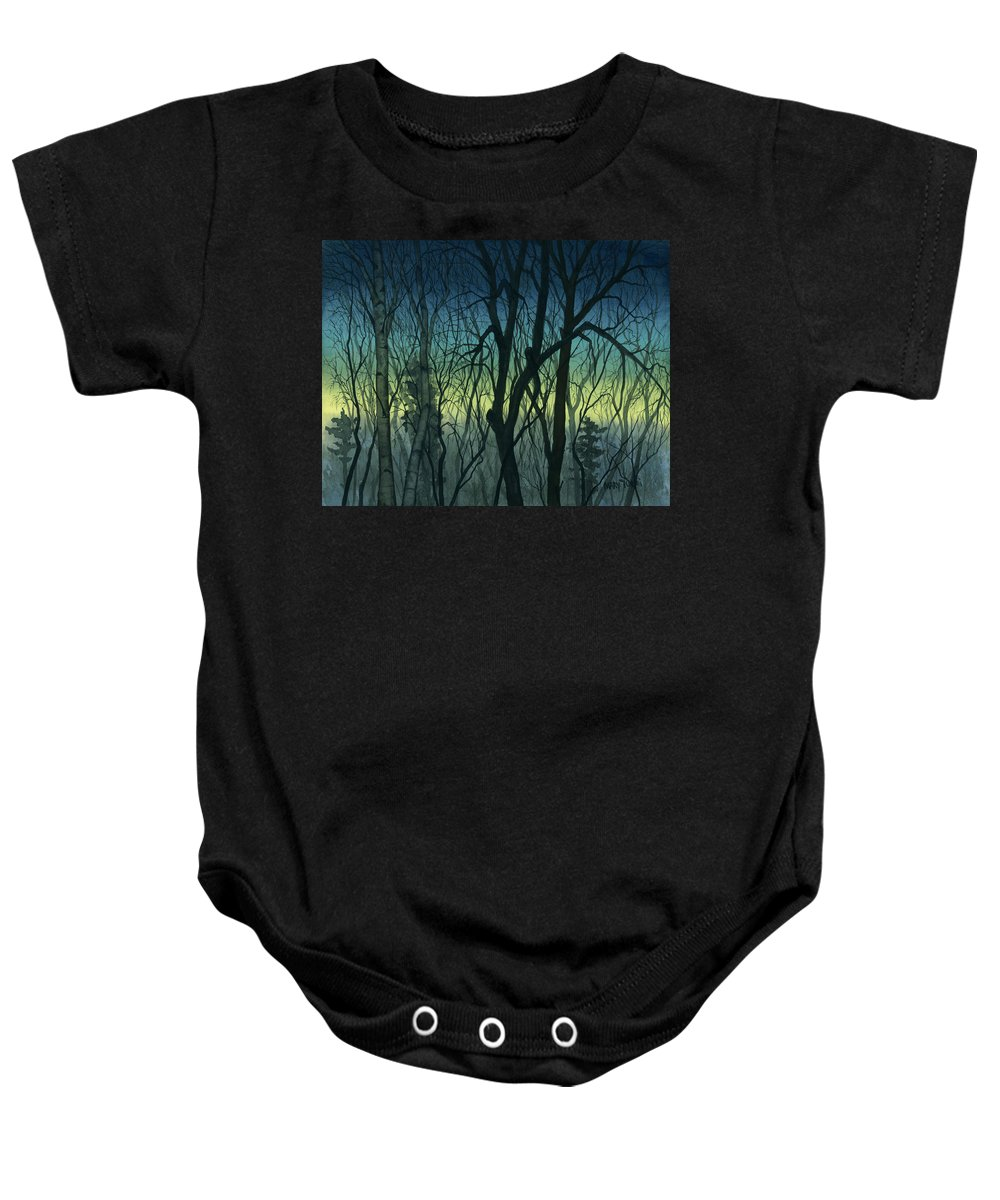 Blue Baby Onesie featuring the painting Evening Stand by Mary Tuomi