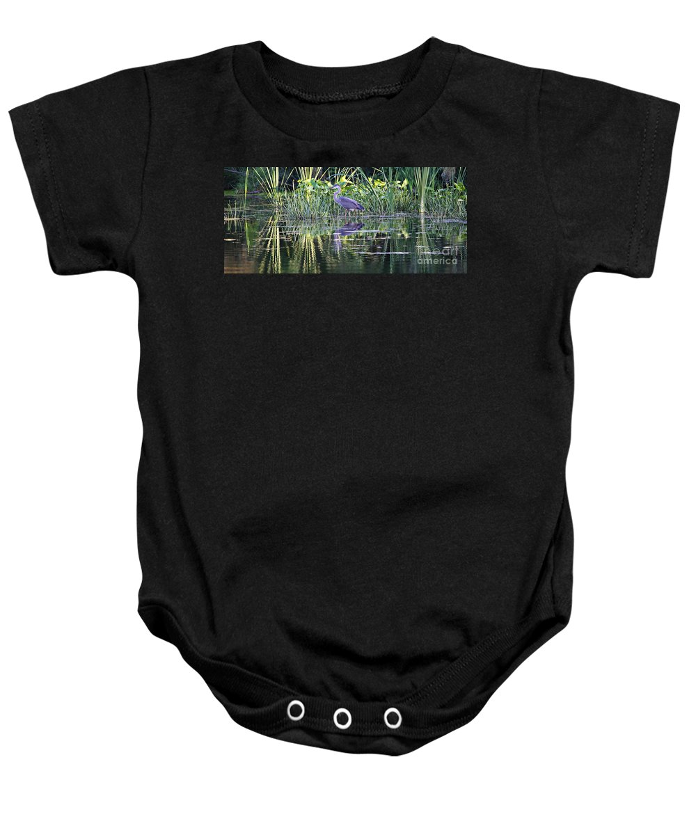 Great Blue Heron Baby Onesie featuring the photograph Evening Stroll by Elizabeth Winter