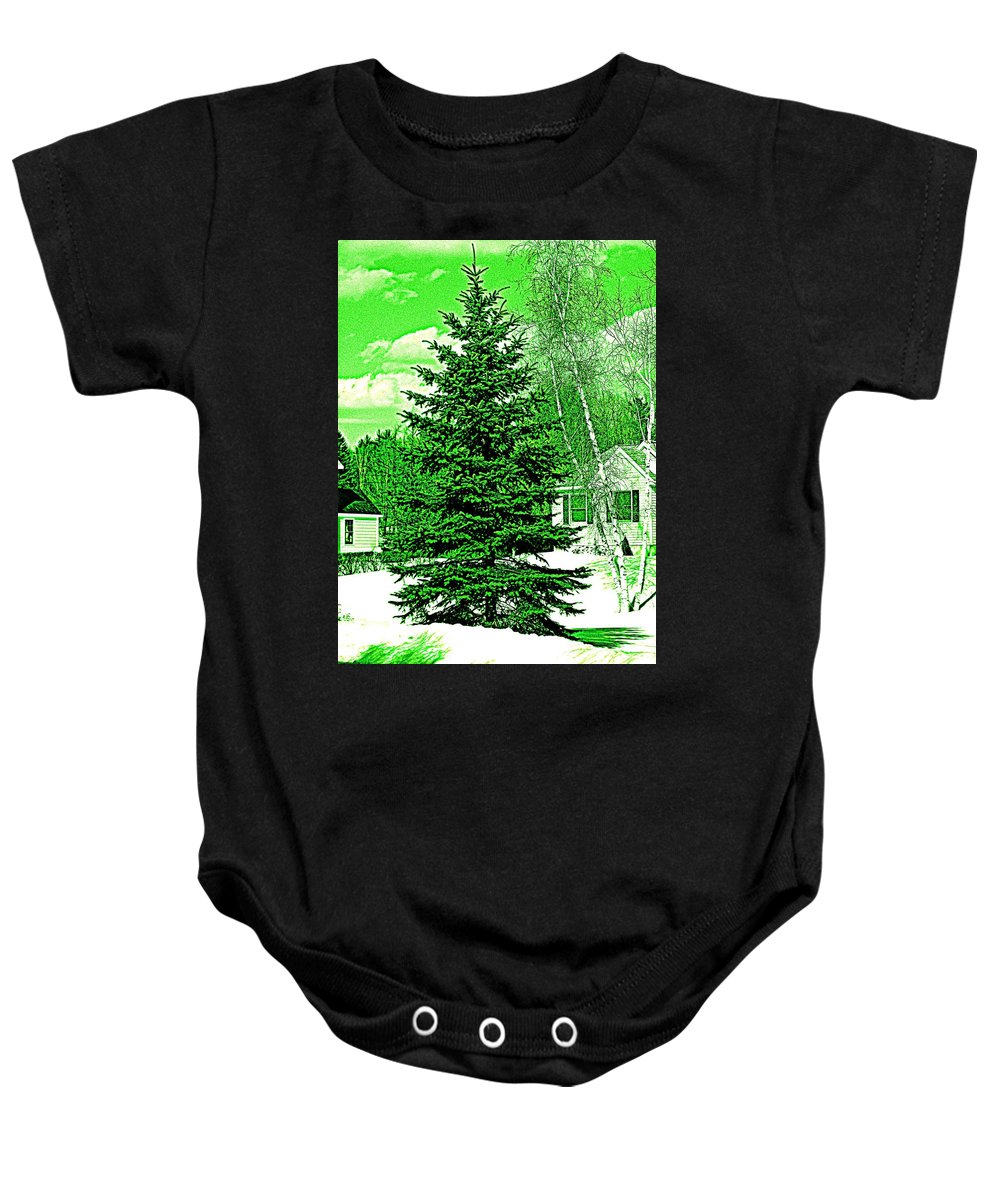 Abstract Baby Onesie featuring the photograph Evergreen by Barbara S Nickerson