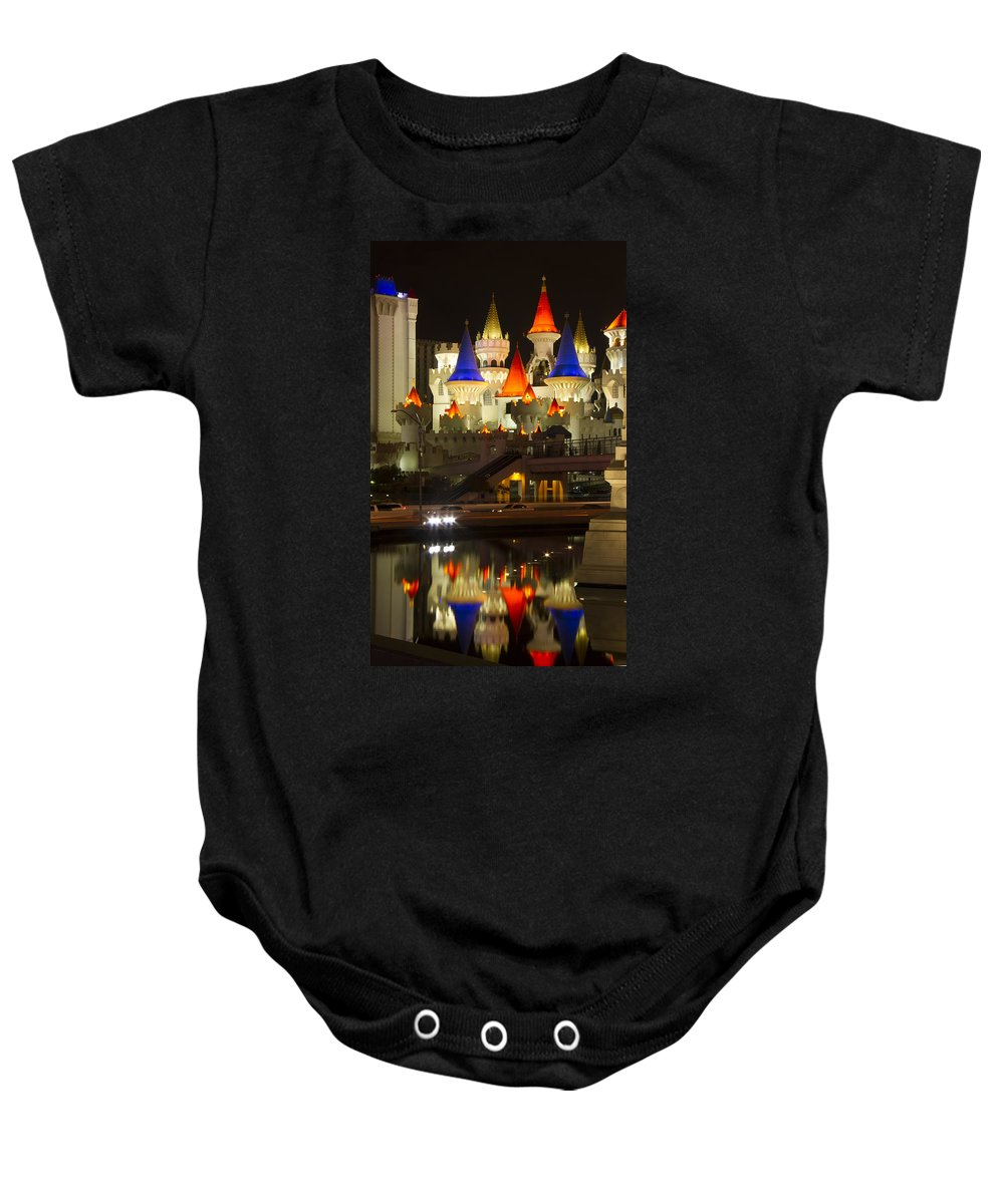Excalibur Baby Onesie featuring the photograph Excalibur Reflection by Debby Richards