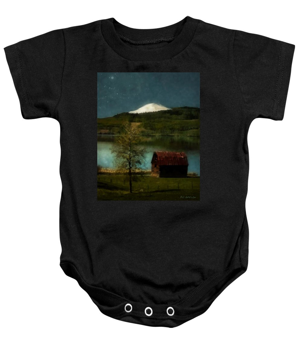 Landscape Baby Onesie featuring the painting Excellence And Peace by RC DeWinter