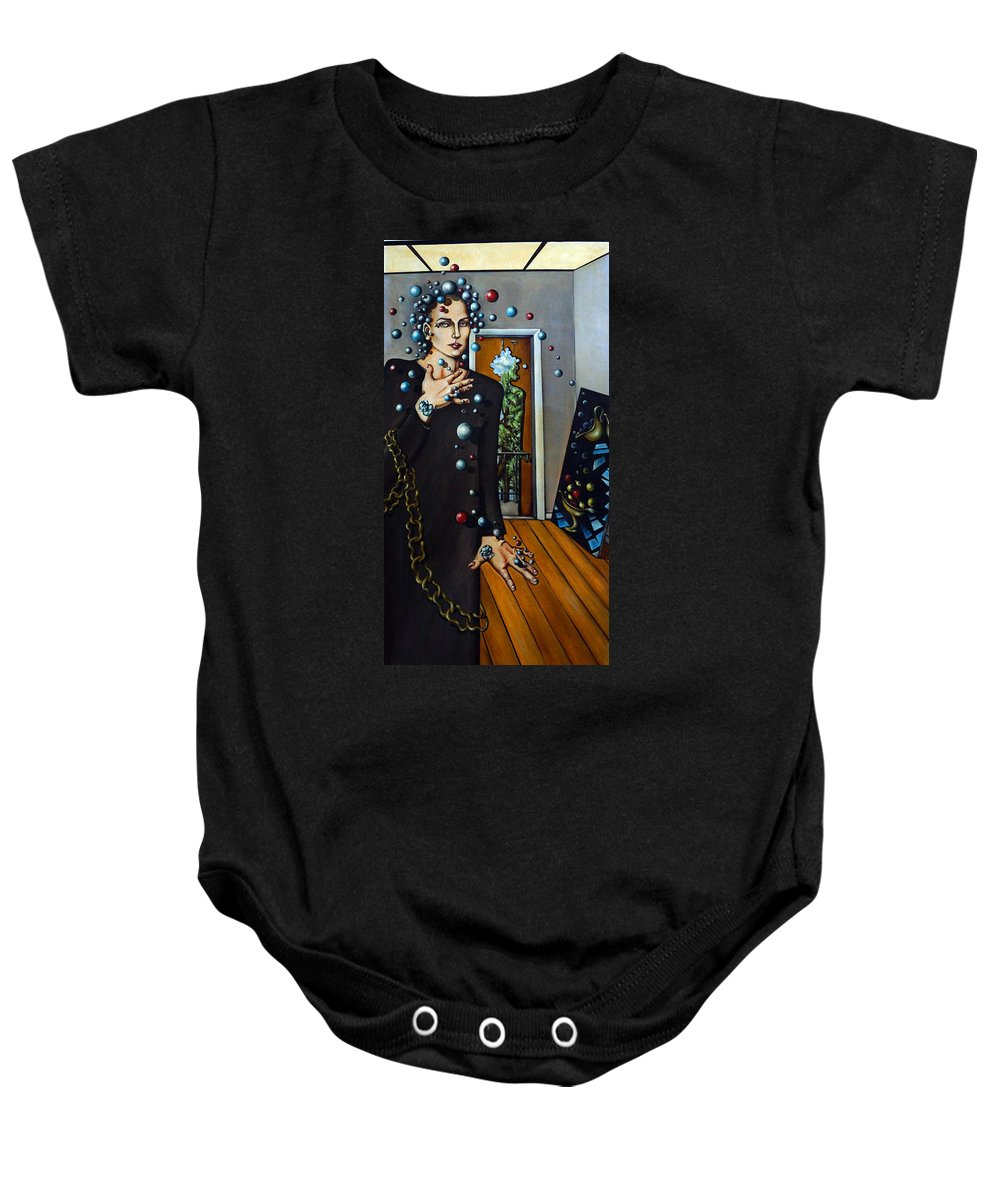 Surreal Baby Onesie featuring the painting Existential Thought by Valerie Vescovi