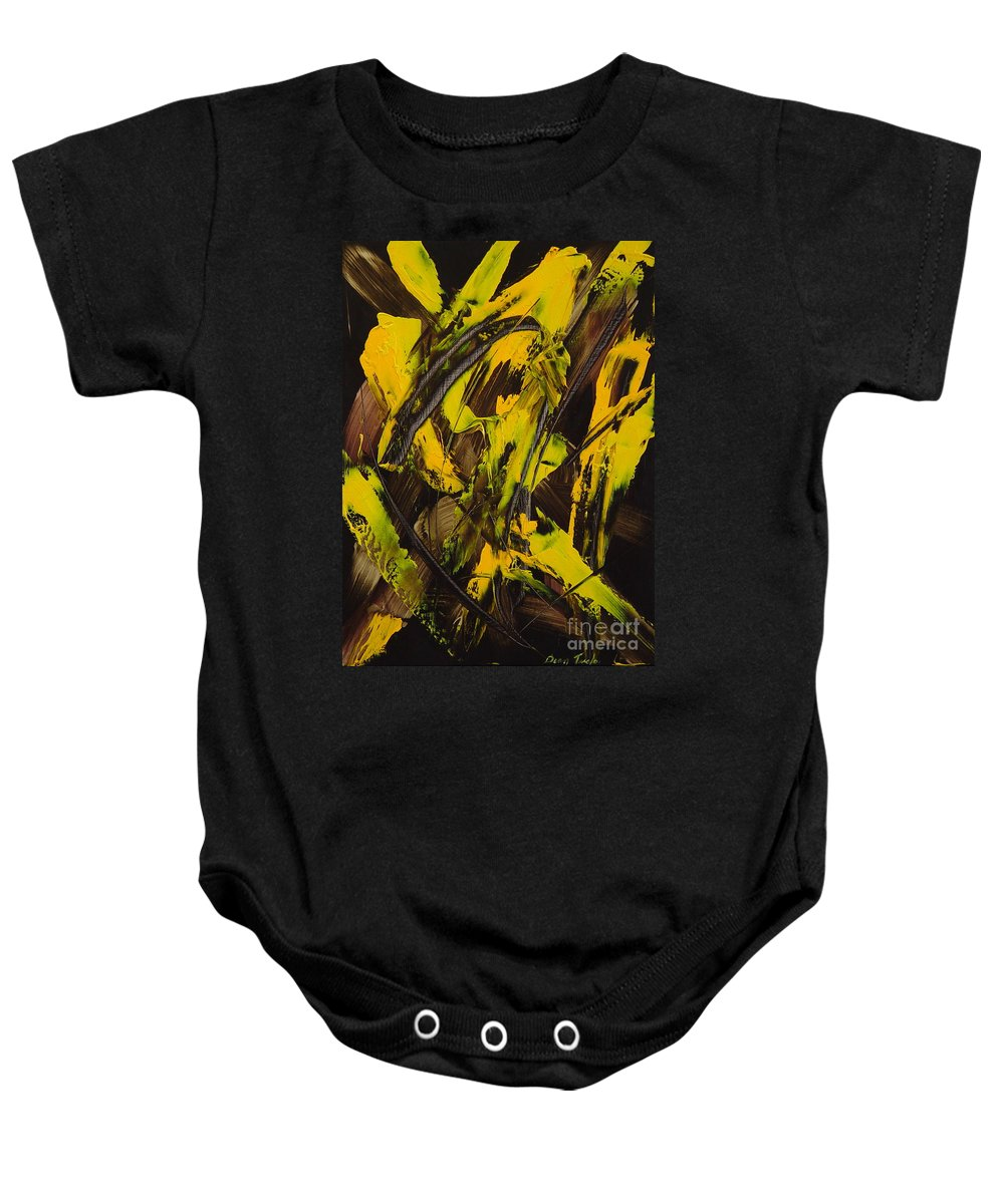 Abstract Baby Onesie featuring the painting Expectations Yellow by Dean Triolo