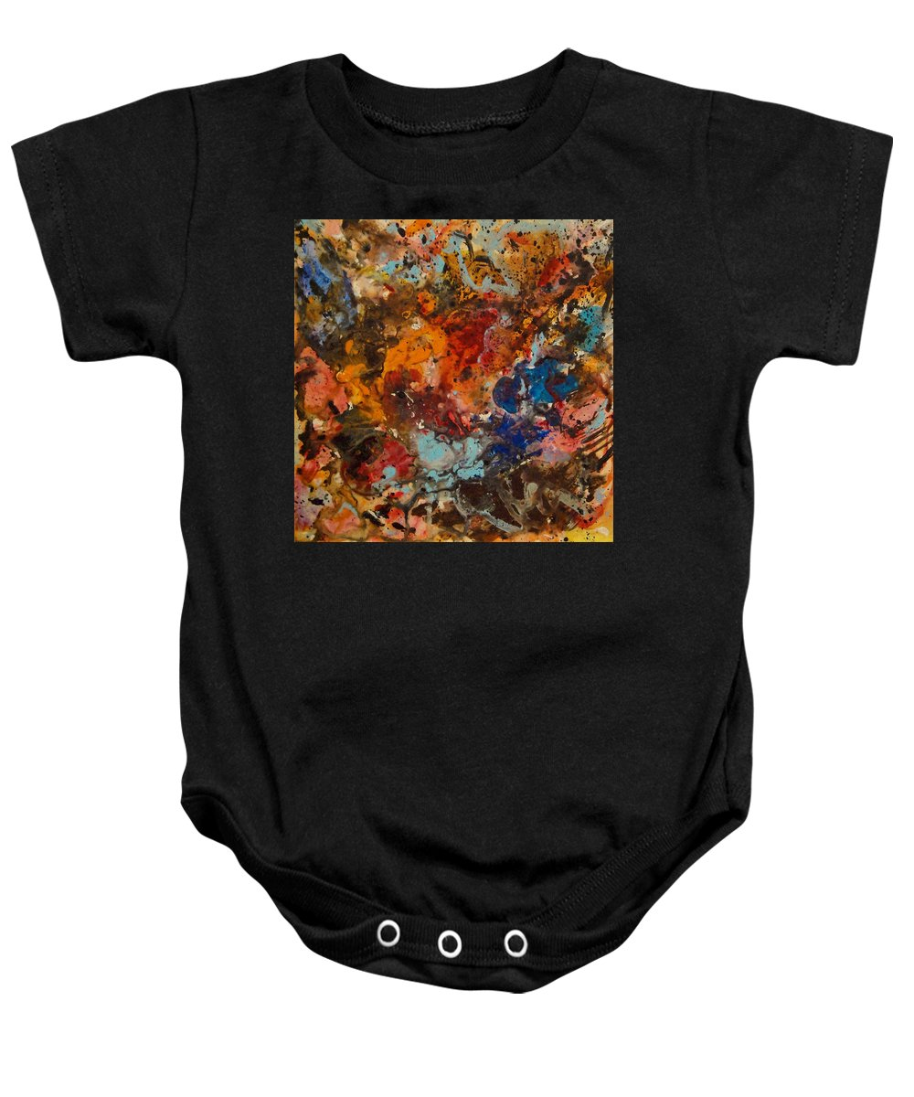 Expressionism Baby Onesie featuring the painting Explosive Chaos by Natalie Holland
