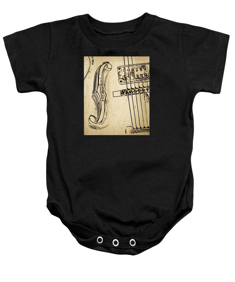 Music Baby Onesie featuring the photograph F Hole Line Drawing by Chris Berry
