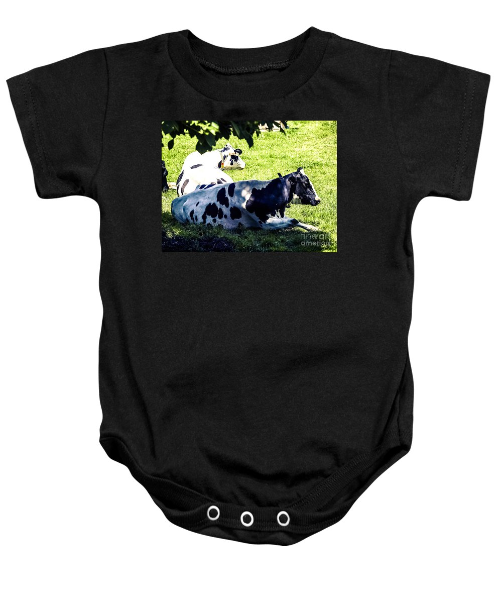 Dairy Cattle Baby Onesie featuring the photograph F0040442-9jpg by David Fabian