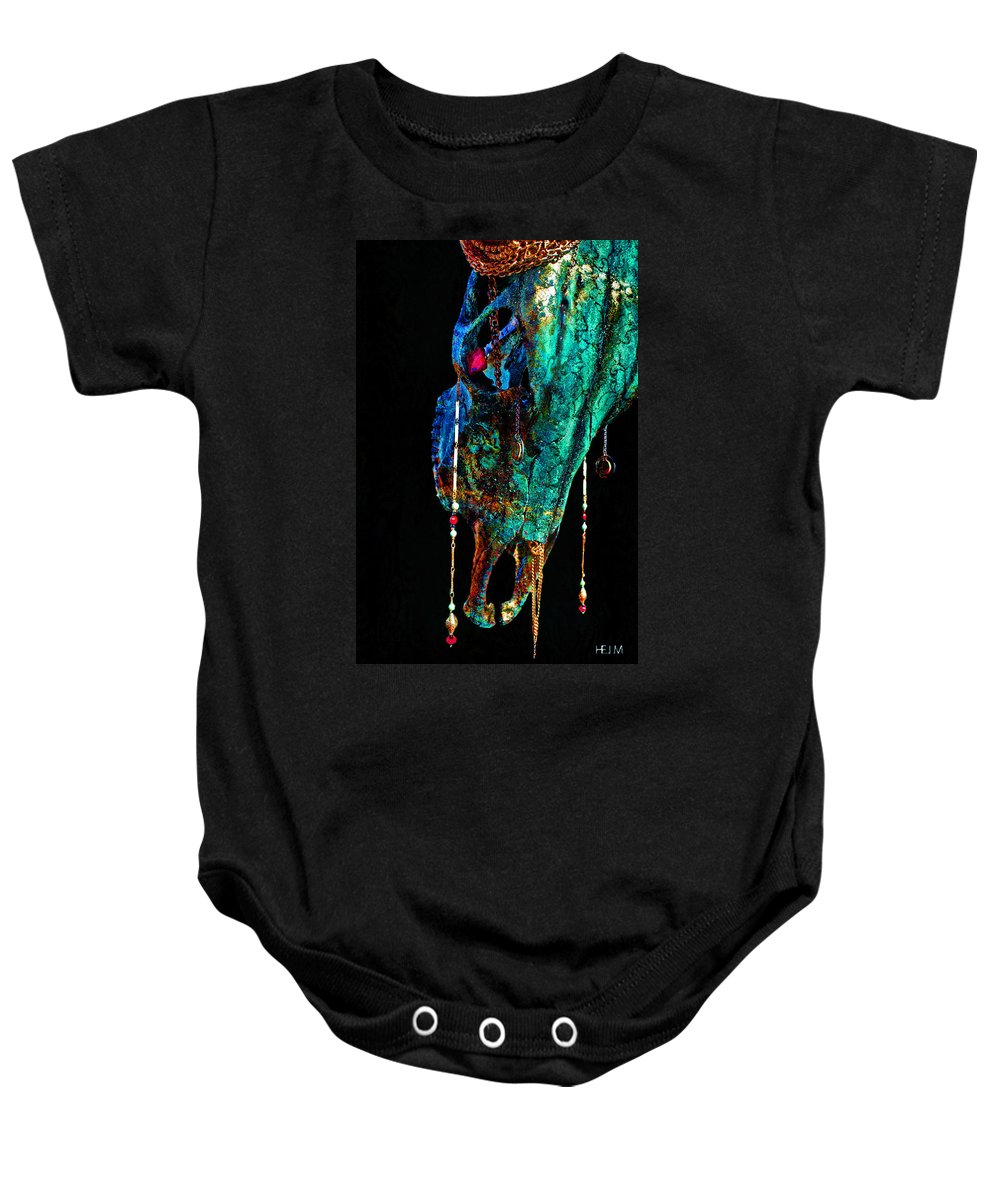 Skulls Drawings Baby Onesie featuring the photograph Fabricated II by Mayhem Mediums