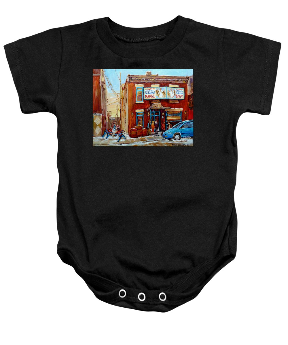 Montreal Baby Onesie featuring the painting Fairmount Bagel In Winter Montreal City Scene by Carole Spandau