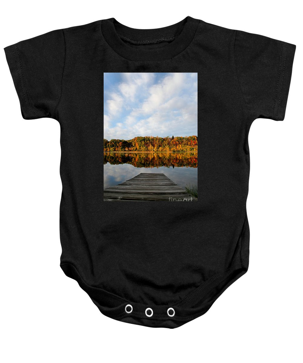 Lake Baby Onesie featuring the photograph Fall On The Lake by DJ Florek